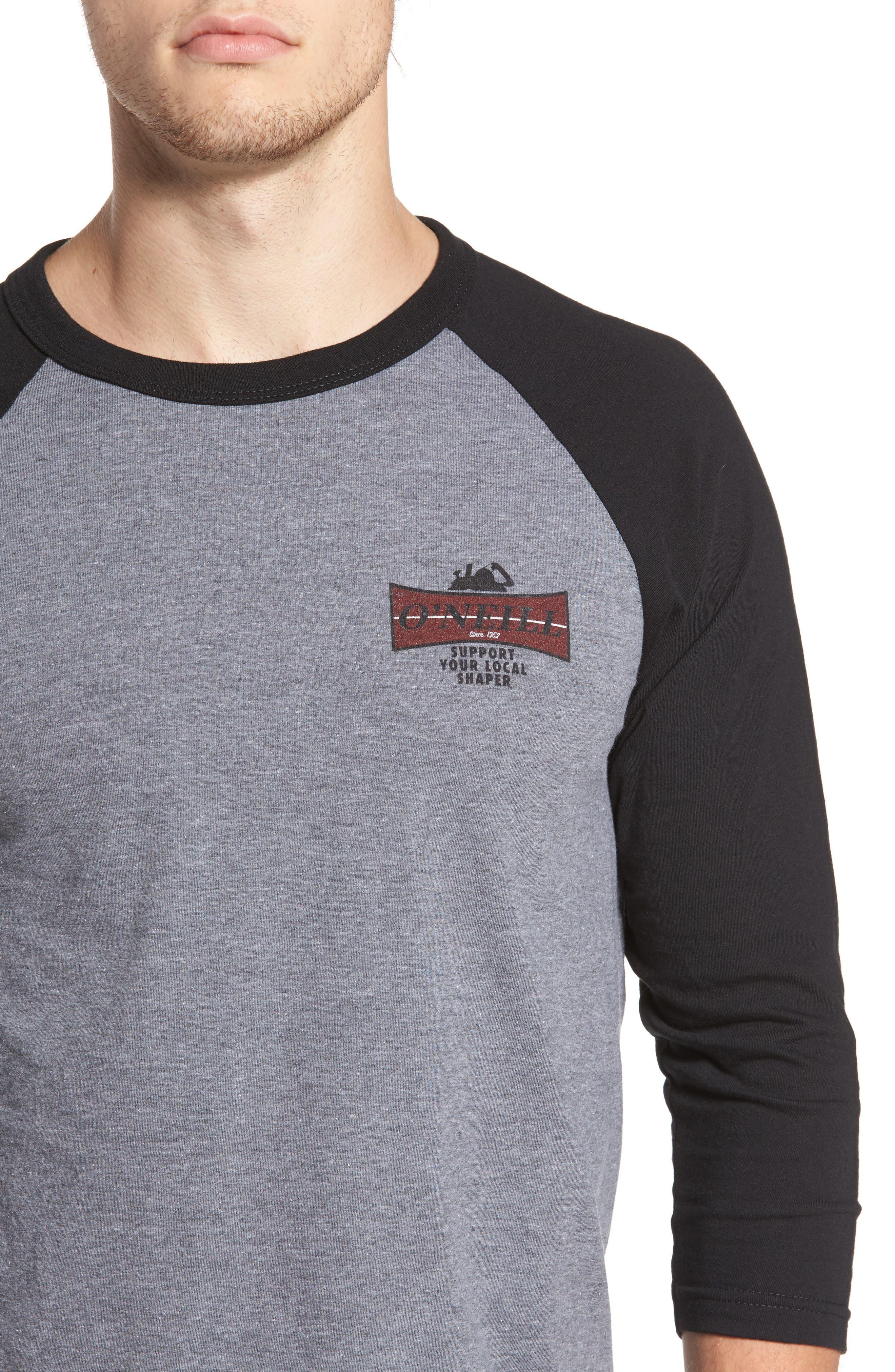 Planer Raglan T-Shirt,                             Alternate thumbnail 4, color,                             Grey W/ Black