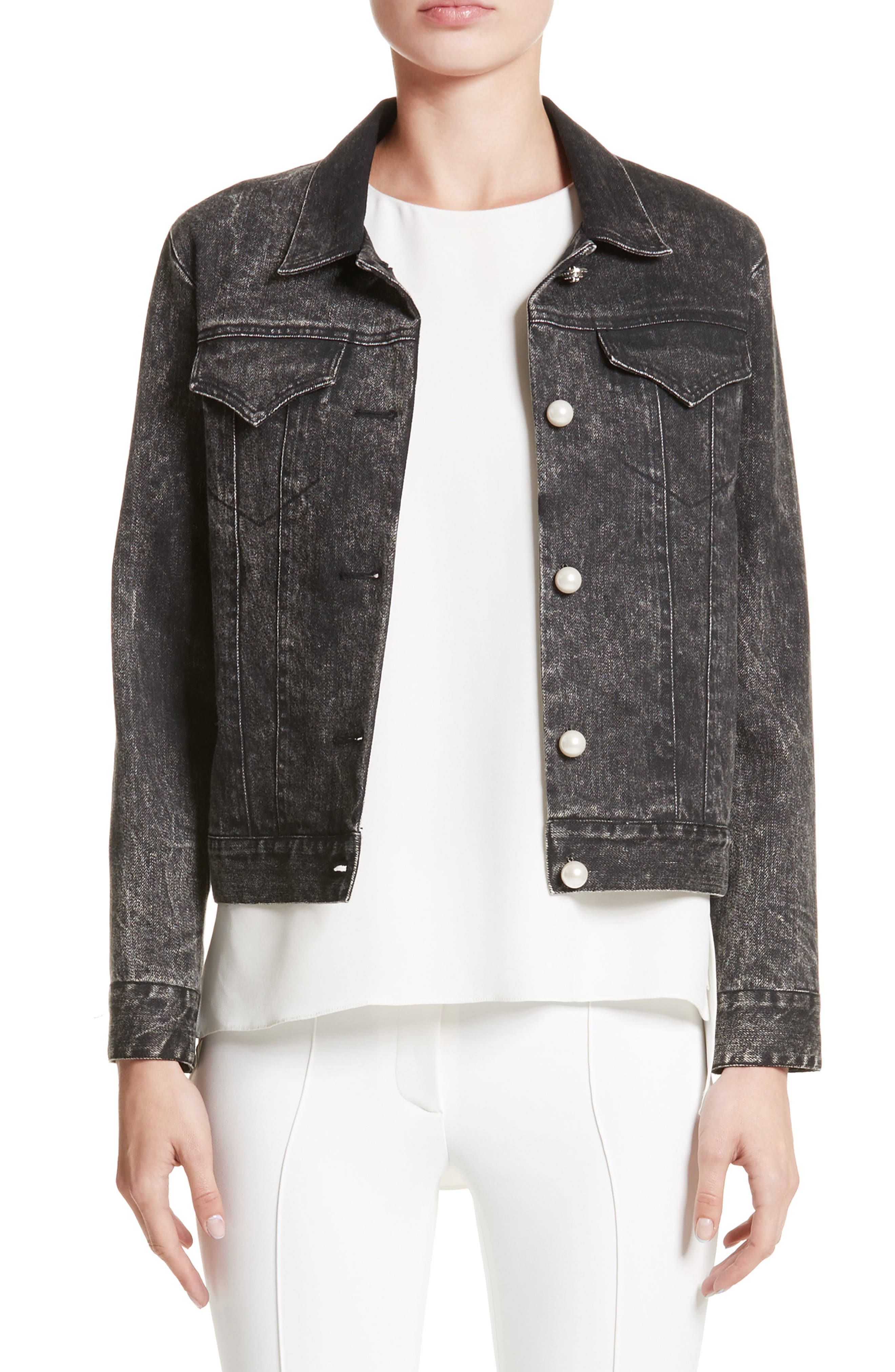 Stretch Denim Jacket with Imitation Pearl,                         Main,                         color, Black