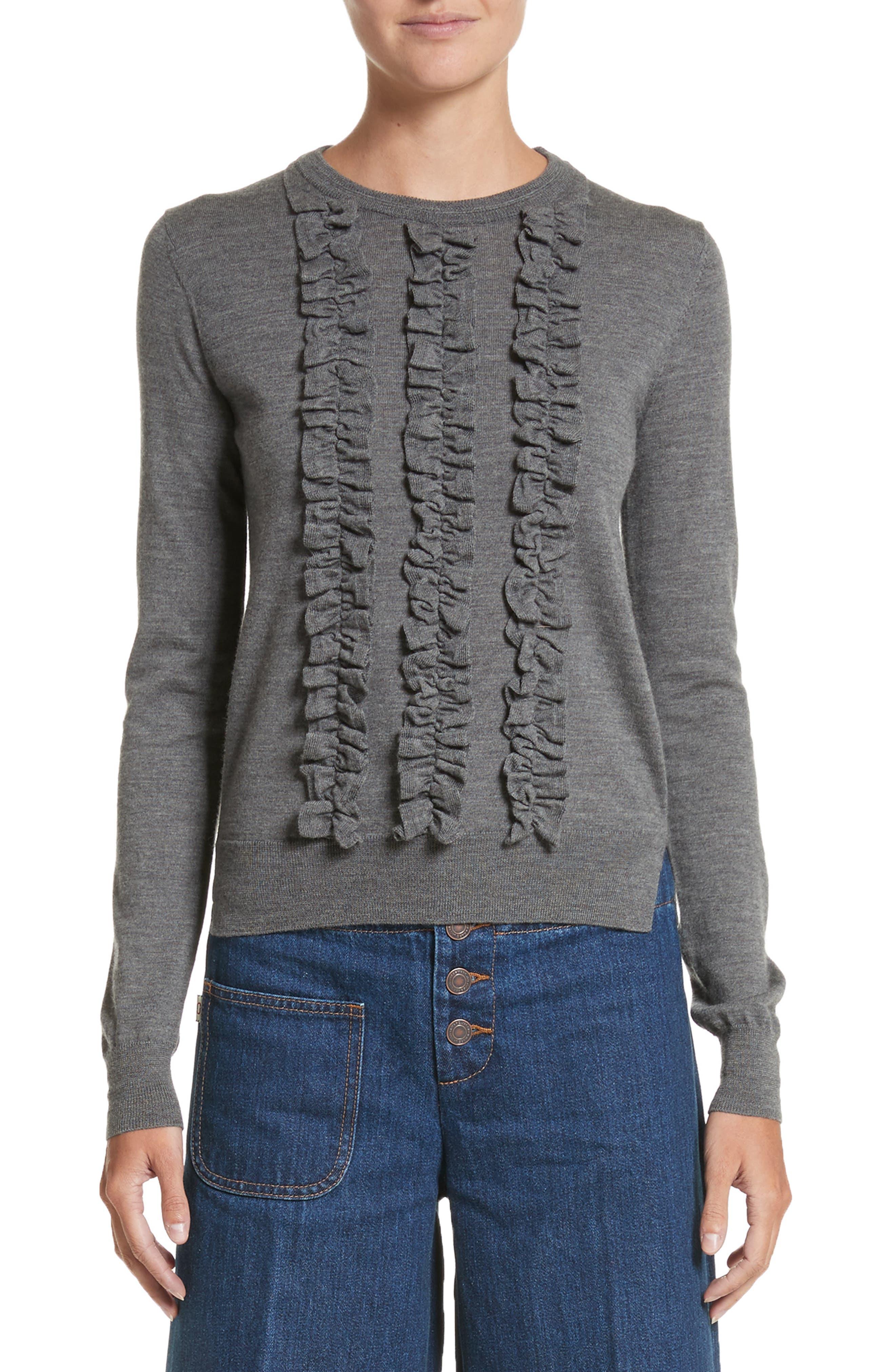 Ruffle Merino Wool Sweater,                             Main thumbnail 1, color,                             Dark Grey Melange