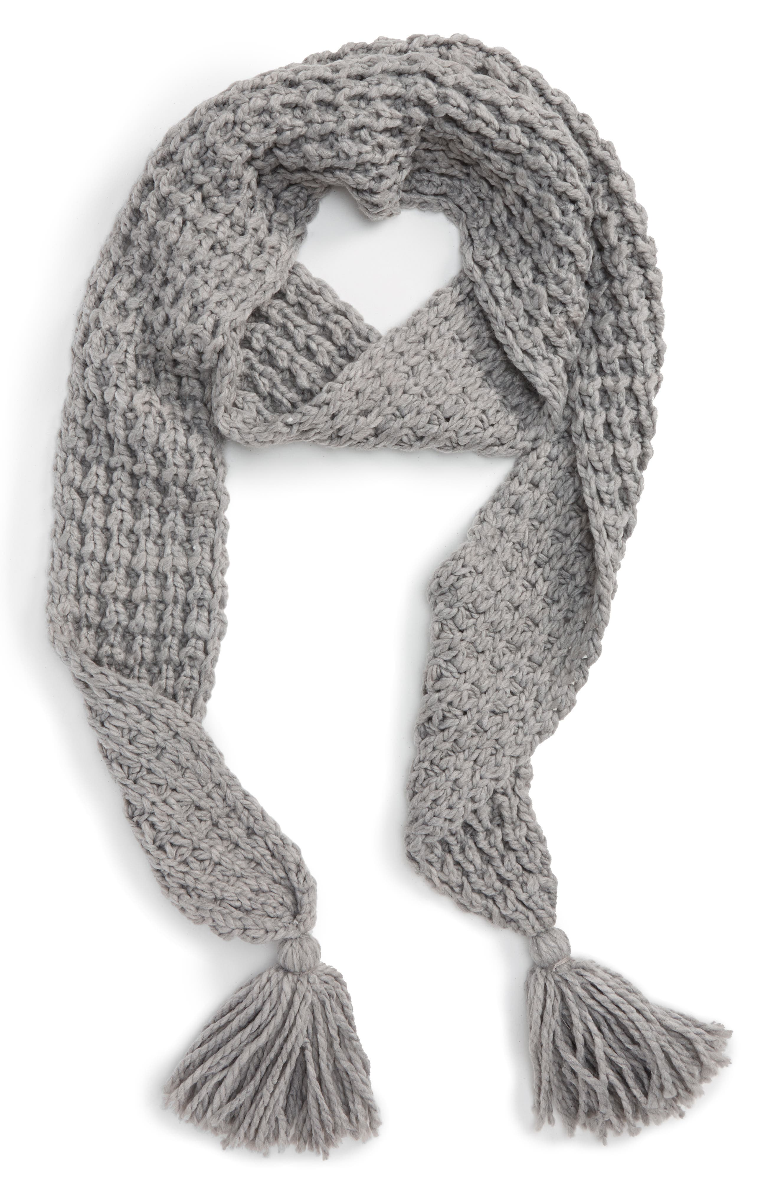 Chunky Knit Skinny Scarf,                         Main,                         color, Heather Gray