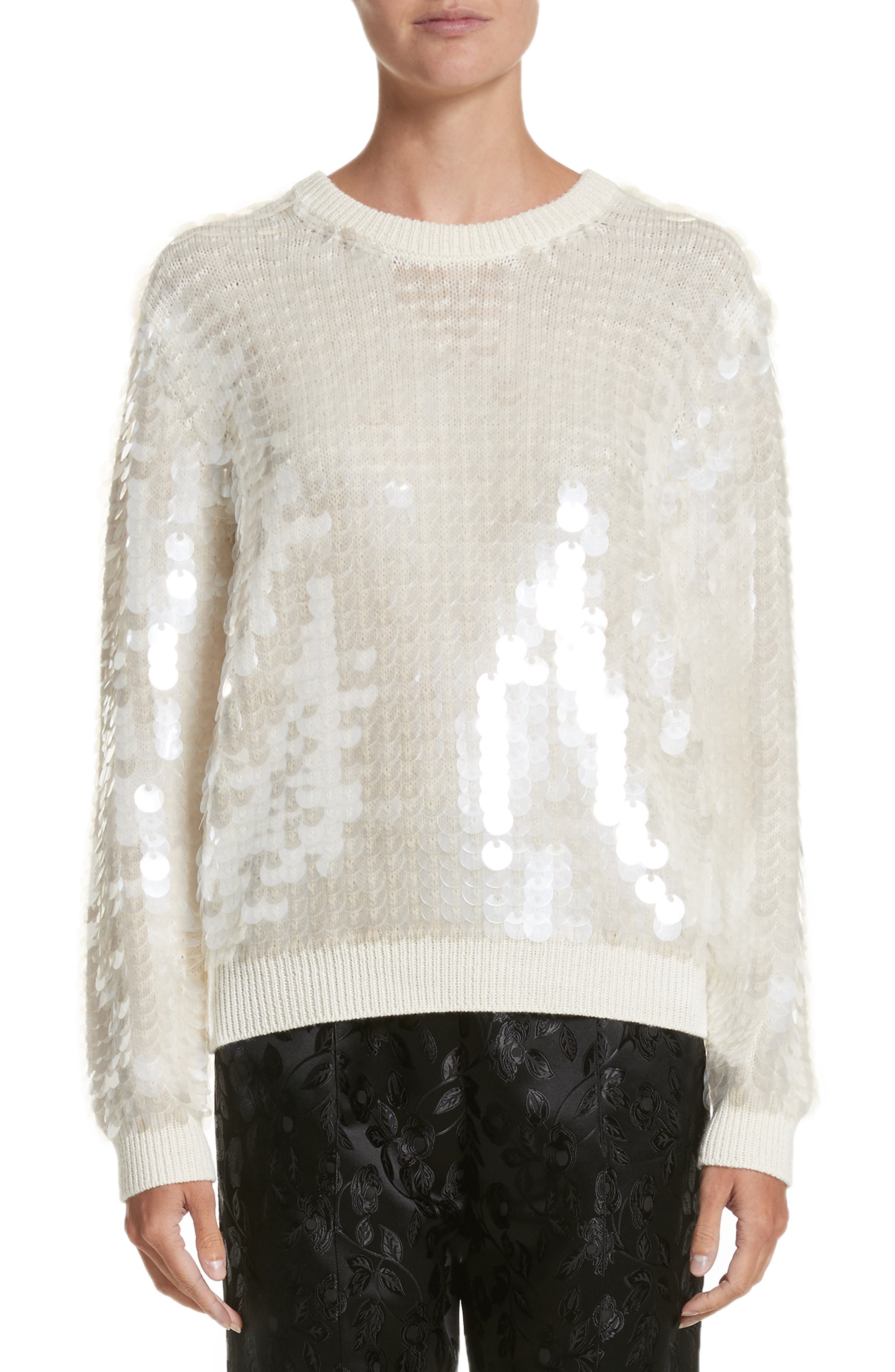 Sequin Wool Sweater,                         Main,                         color, Ivory
