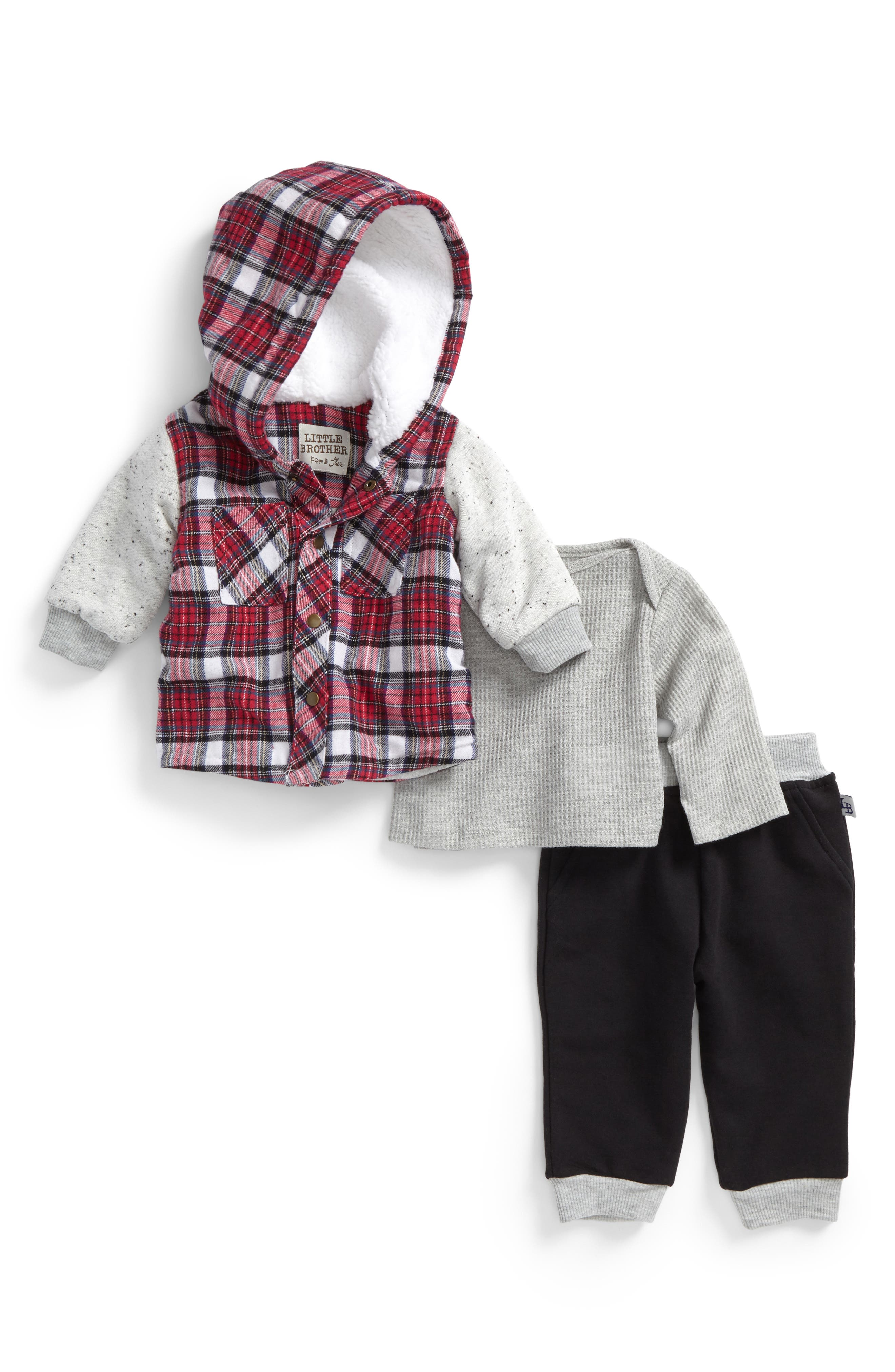 Main Image - Little Brother by Pippa & Julie Hooded Jacket, Knit Top & Sweatpants Set (Baby Boys)