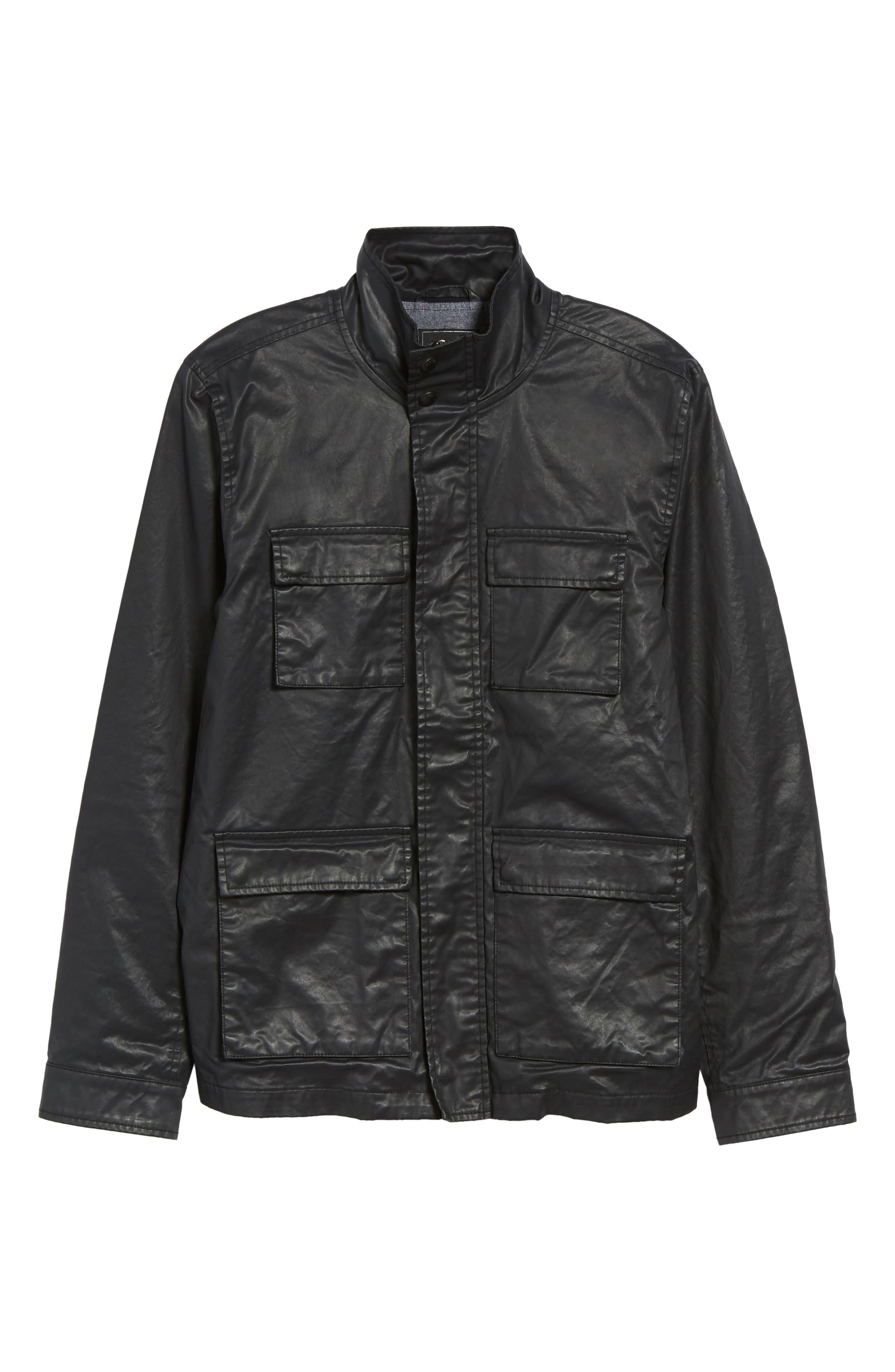 Edgeware Modern Fit Coated Moto Jacket,                             Alternate thumbnail 6, color,                             Black
