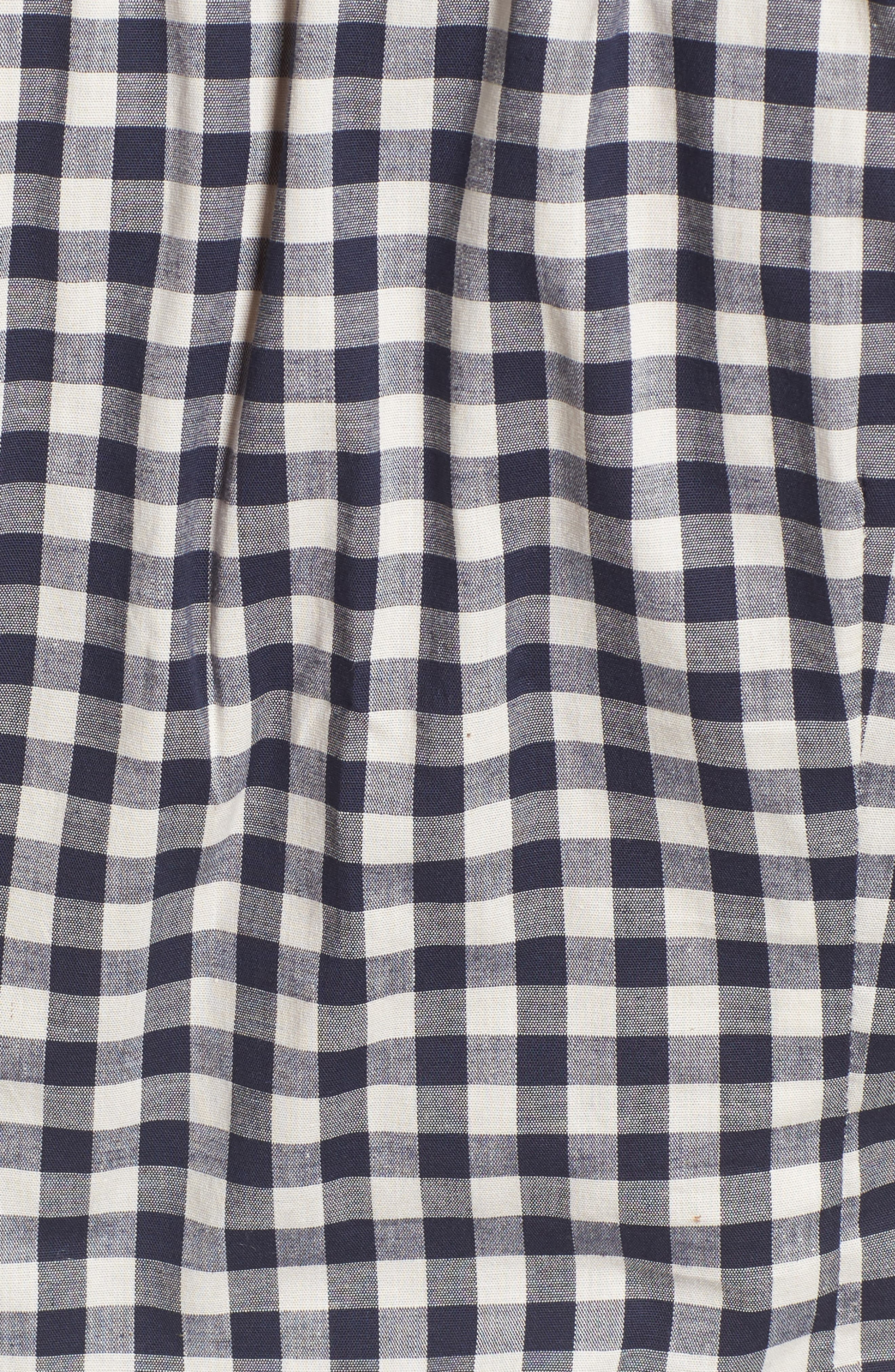 Bell Sleeve Off the Shoulder Crop Top,                             Alternate thumbnail 5, color,                             Navy/ White Gingham