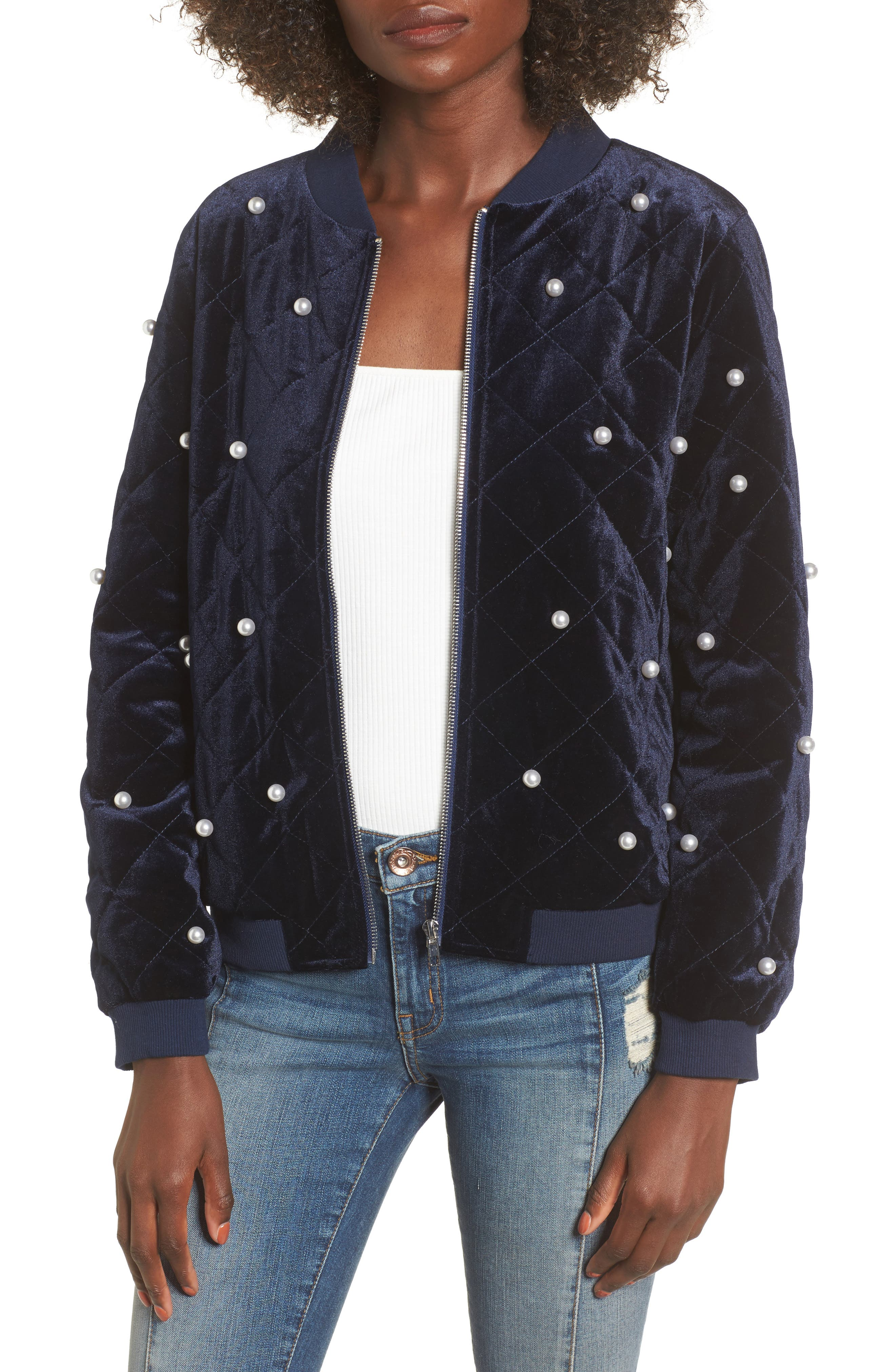 Soprano Bead Embellished Quilted Bomber Jacket