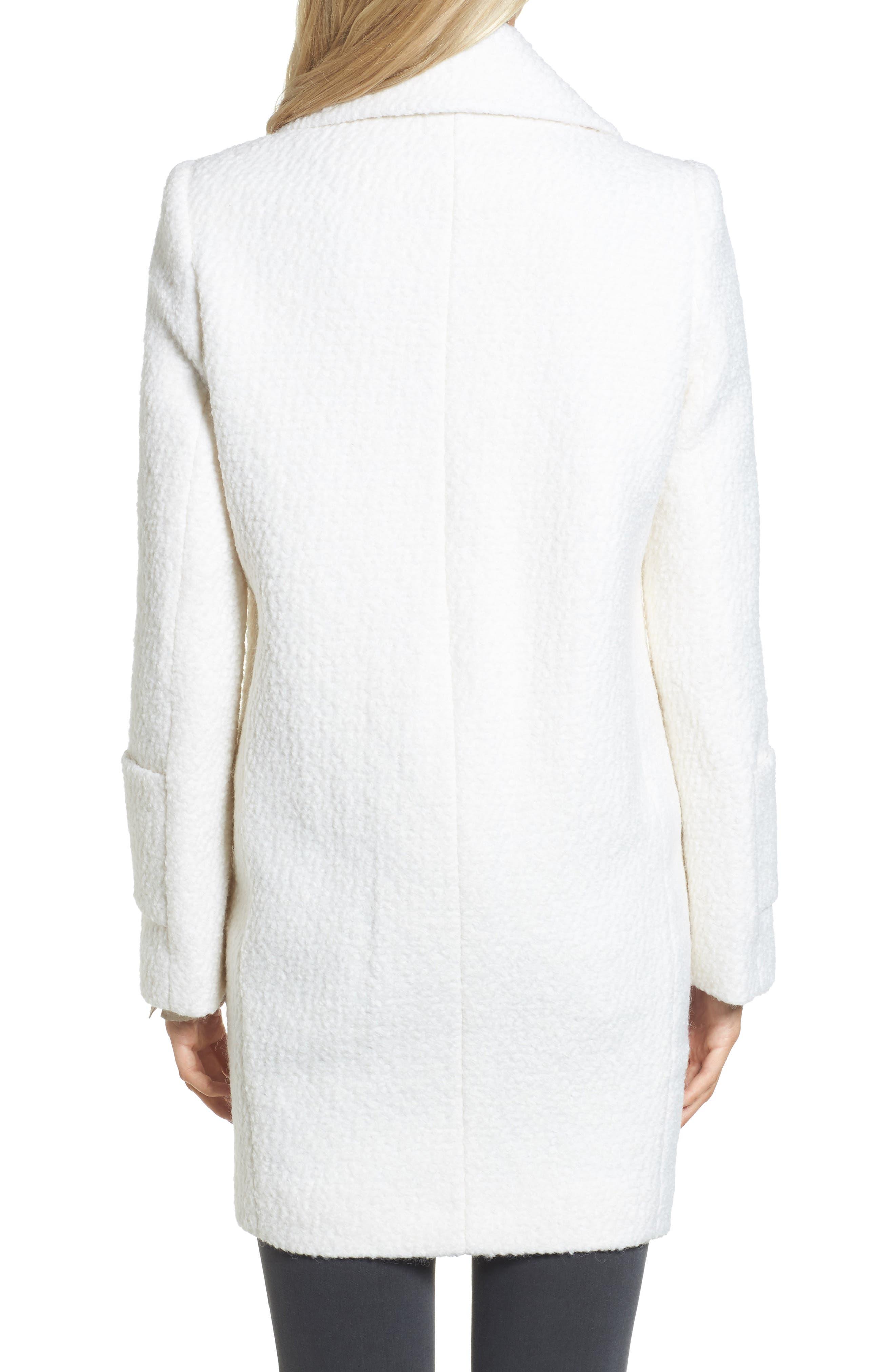 Notch Collar Bouclé Car Coat,                             Alternate thumbnail 2, color,                             Winter White