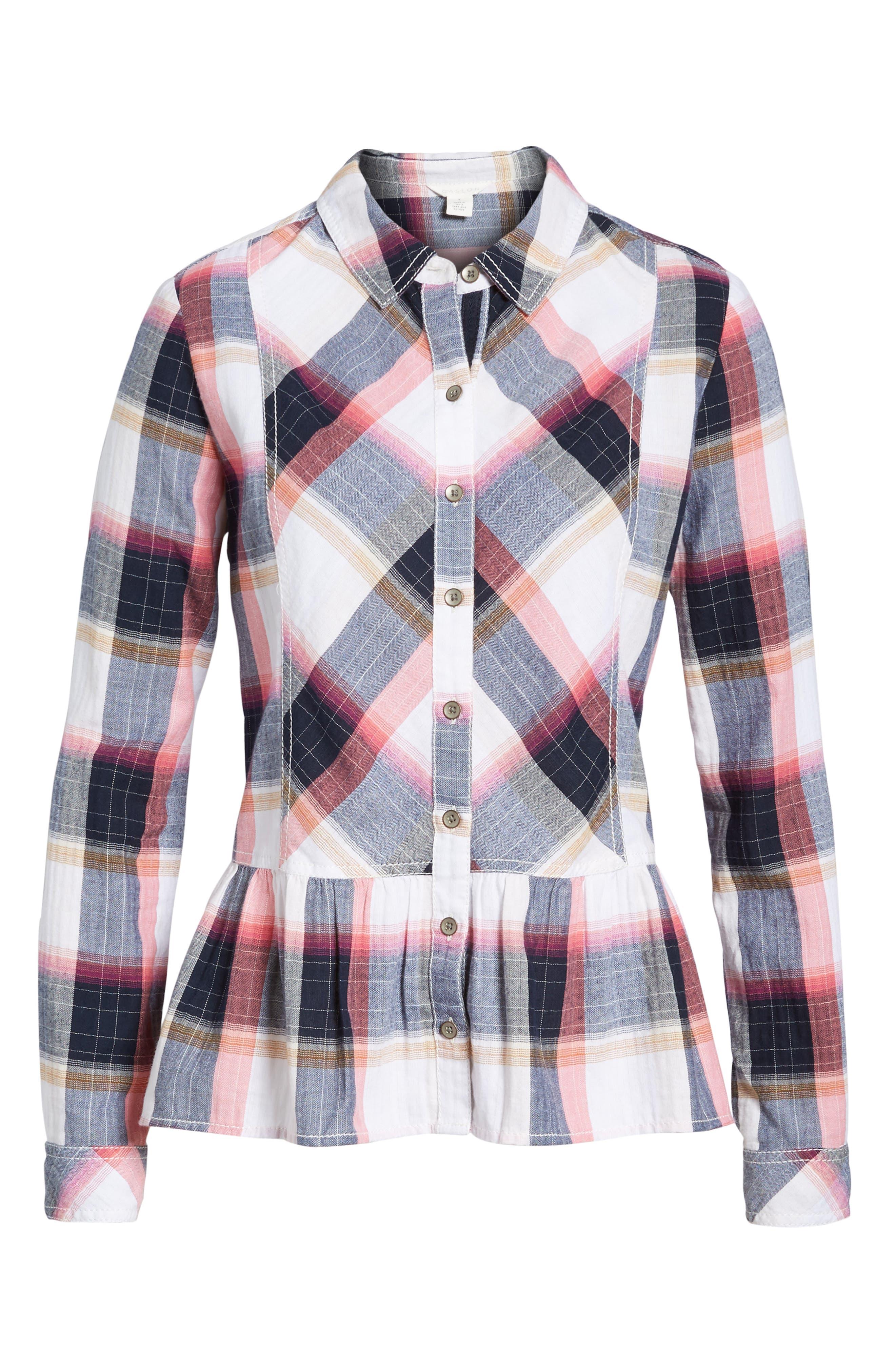 Peplum Plaid Shirt,                             Alternate thumbnail 6, color,                             Navy- Rose Plaid