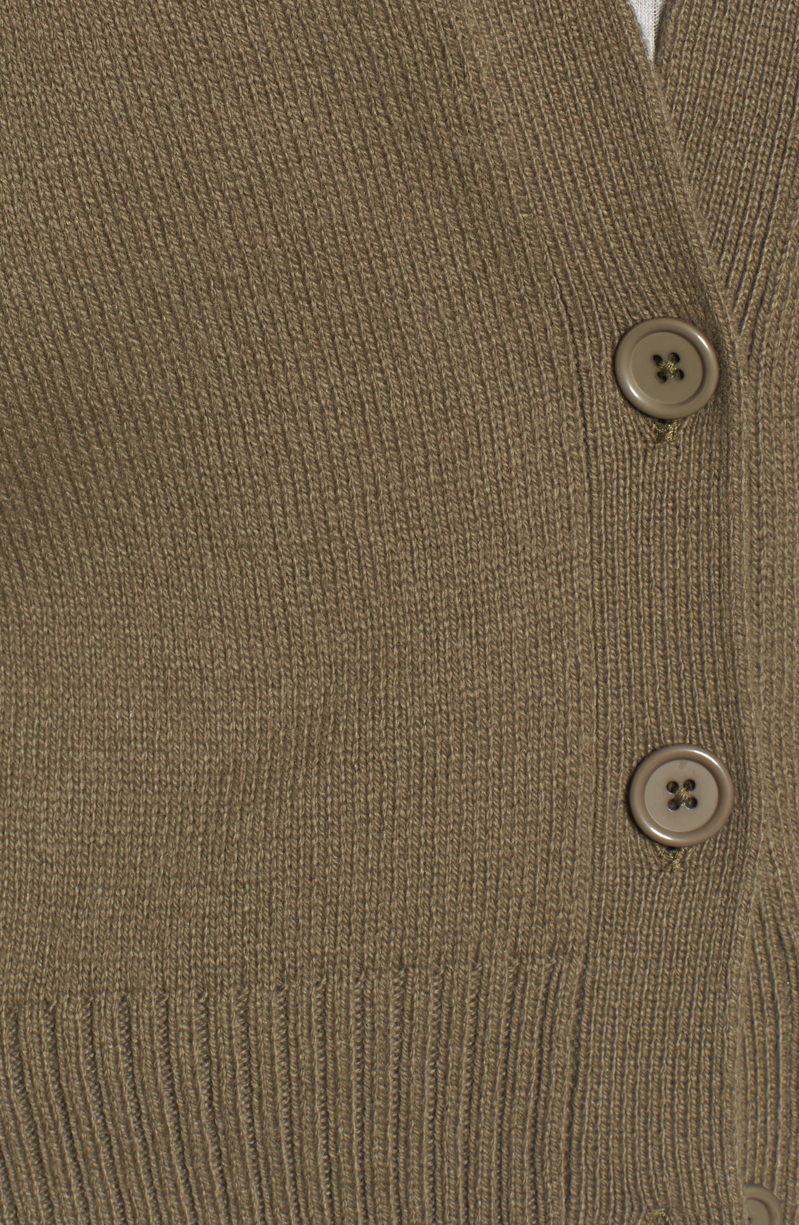 Bow Sleeve Cardigan,                             Alternate thumbnail 5, color,                             Olive Grove