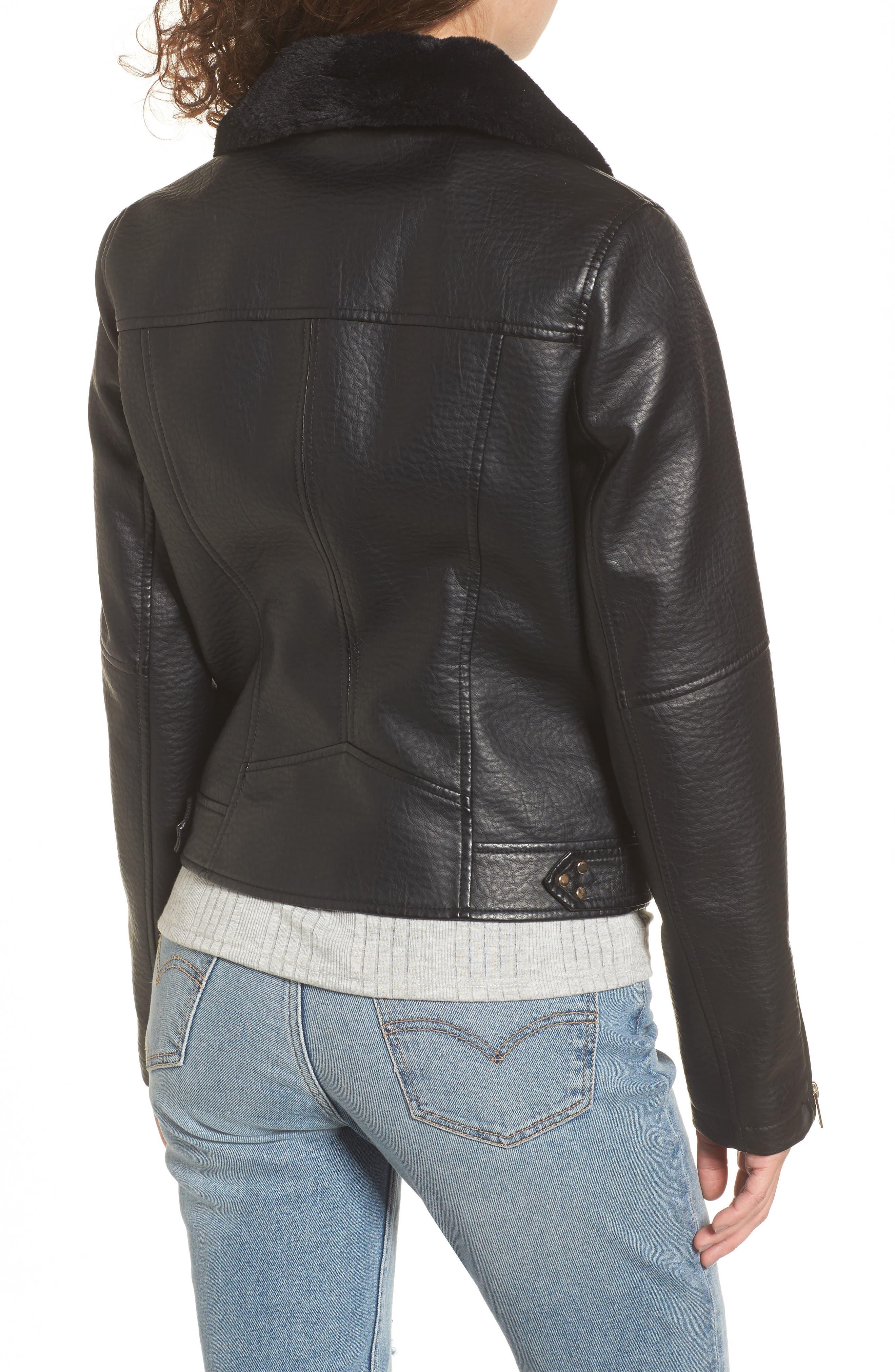 Textured Faux Leather Jacket with Removable Faux Fur Trim,                             Alternate thumbnail 2, color,                             Black