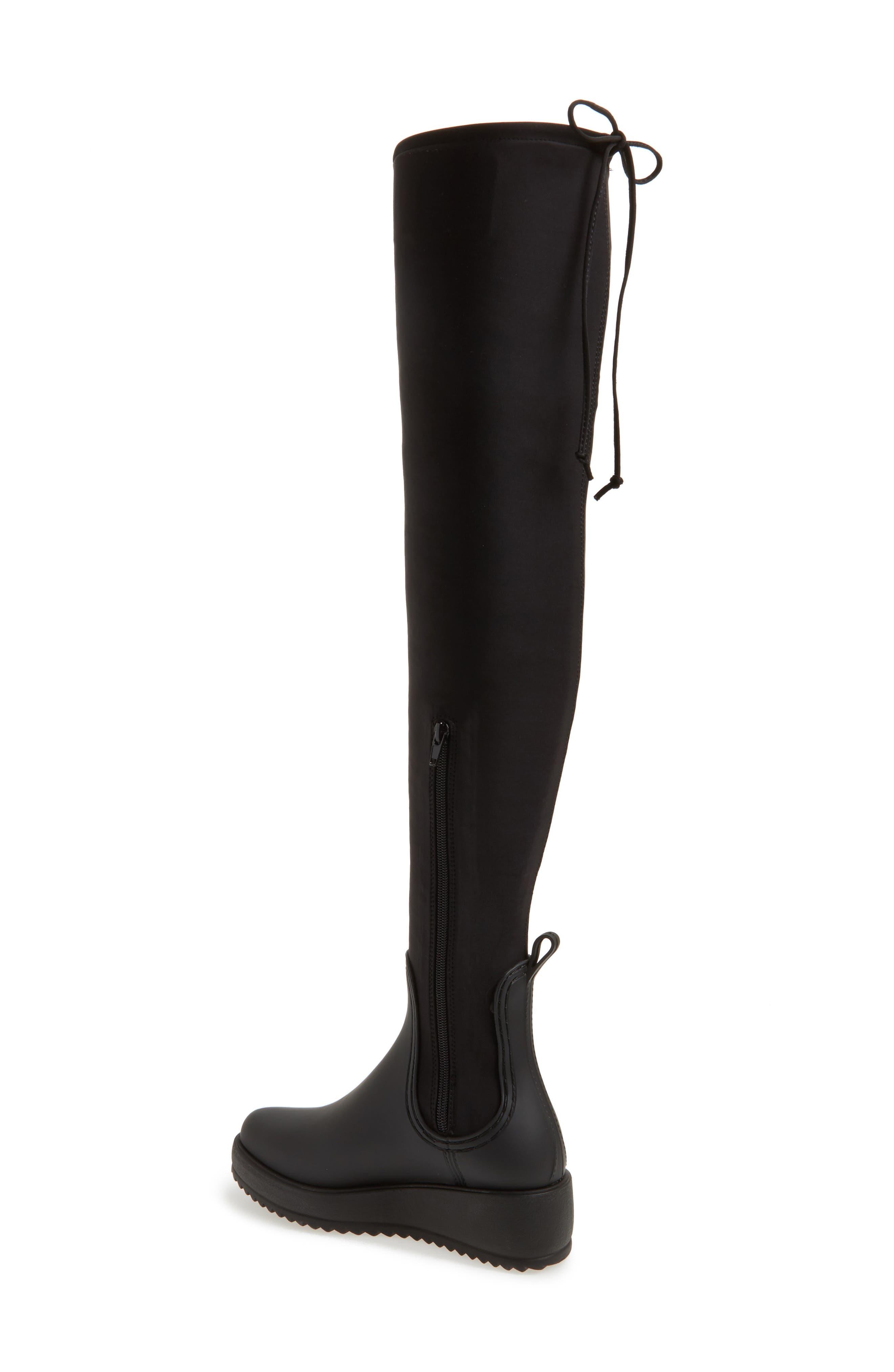 Monsoon Over the Knee Platform Rain Boot,                             Alternate thumbnail 2, color,                             Black Black Neoprene