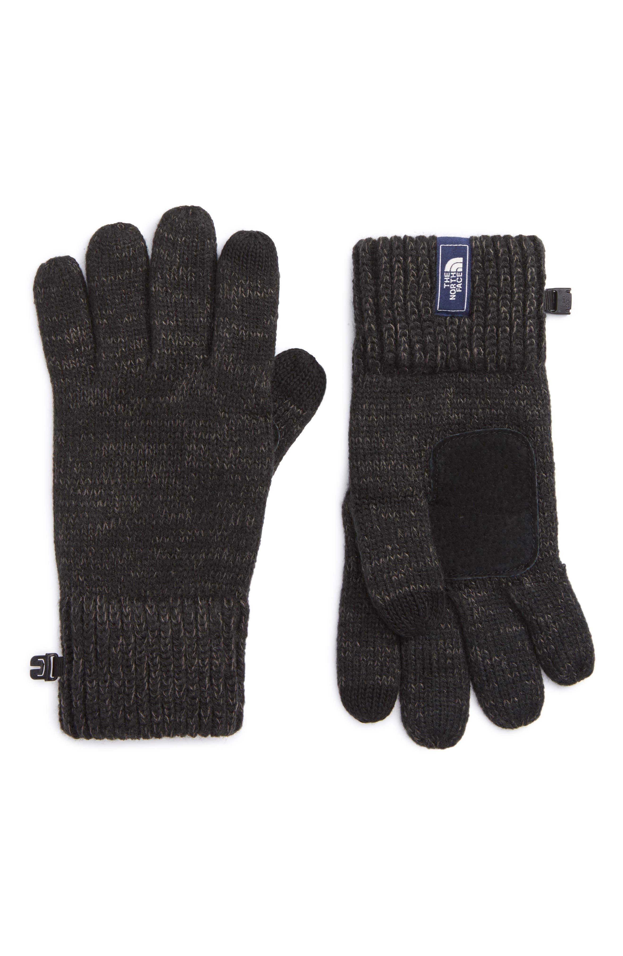 Etip Salty Dog Knit Tech Gloves,                         Main,                         color, Tnf Black