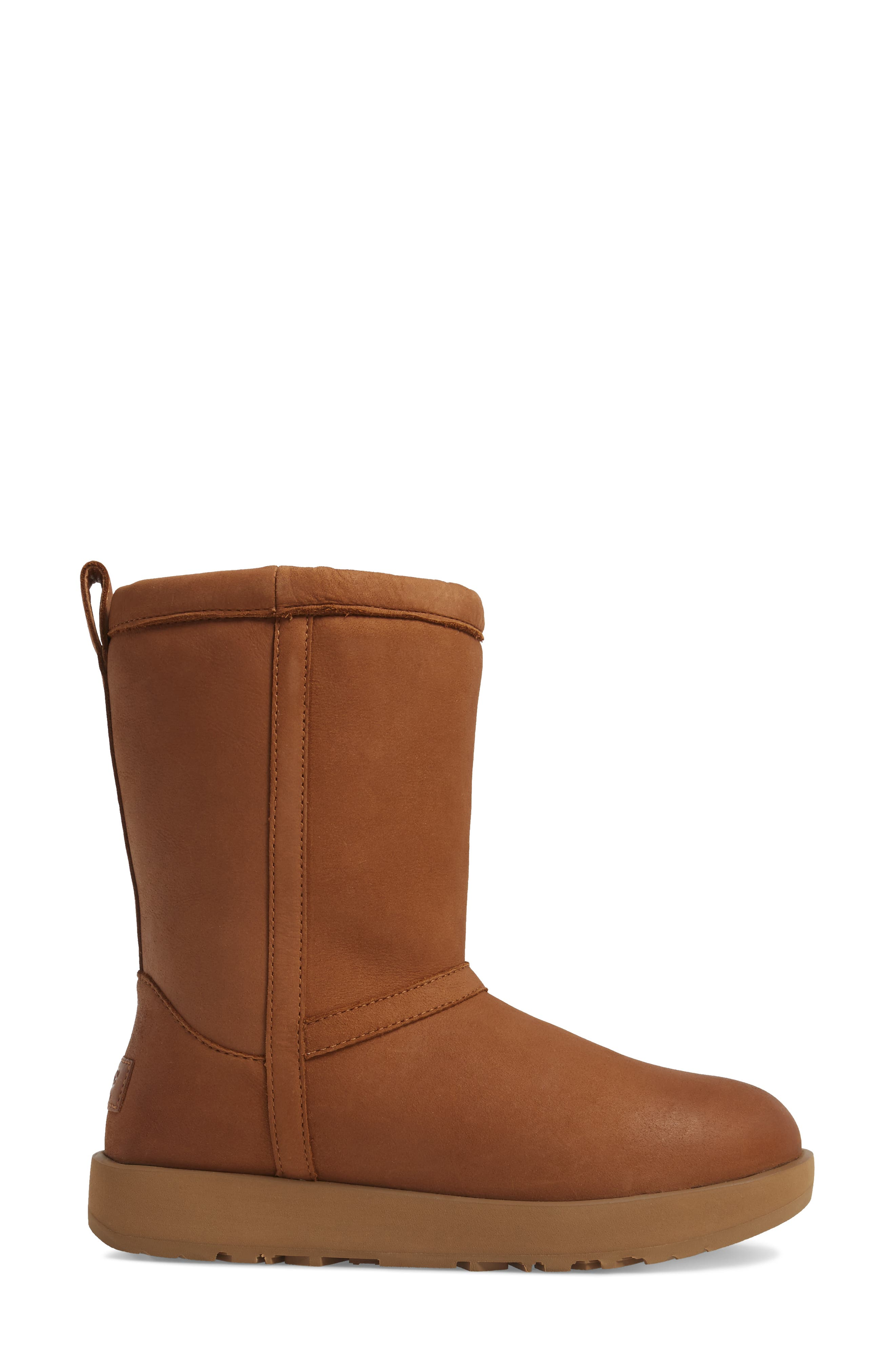 Classic Genuine Shearling Lined Short Waterproof Boot,                             Alternate thumbnail 3, color,                             Chestnut Leather