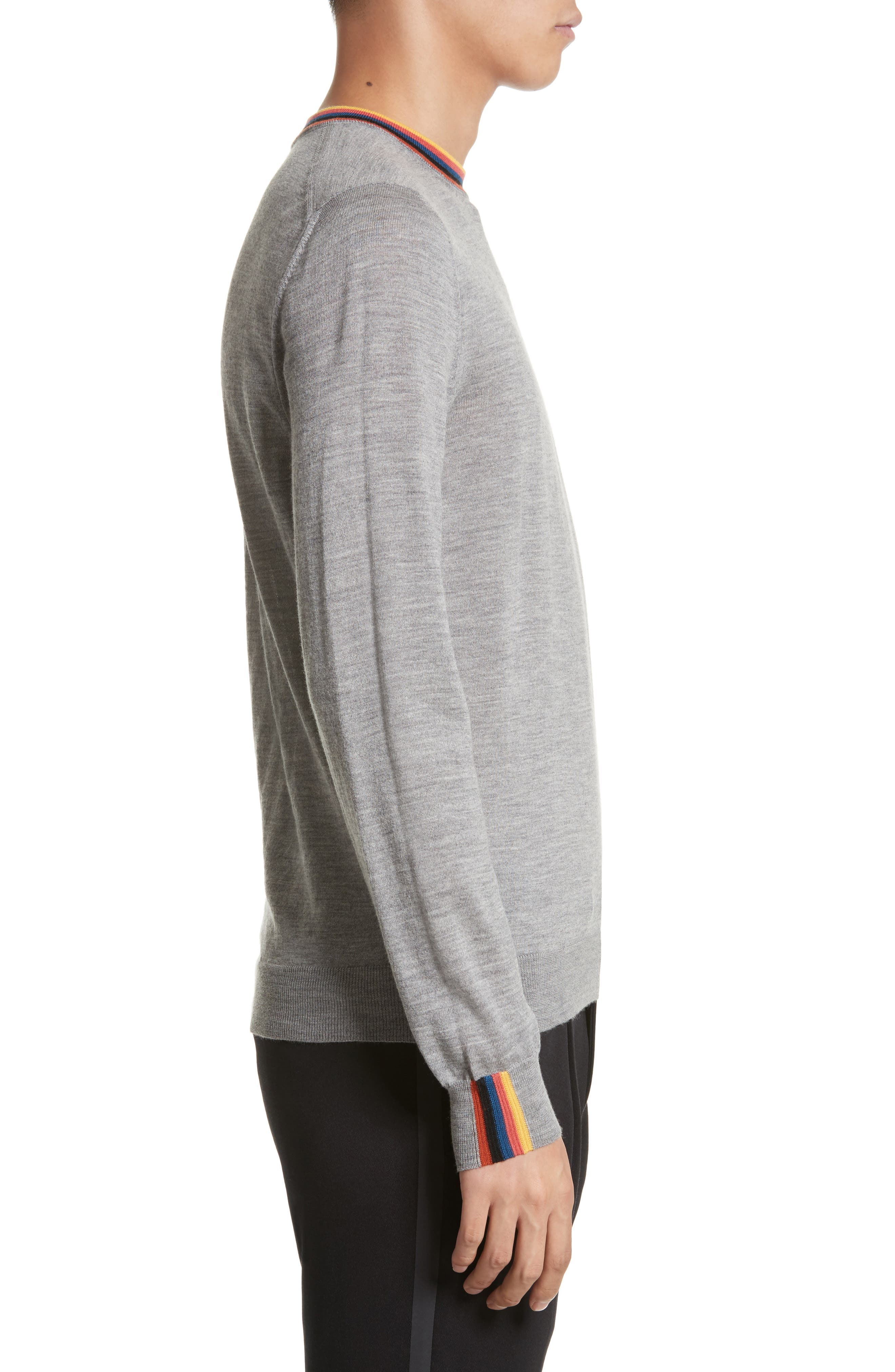 Artist Stripe Merino Wool Sweater,                             Alternate thumbnail 3, color,                             Grey