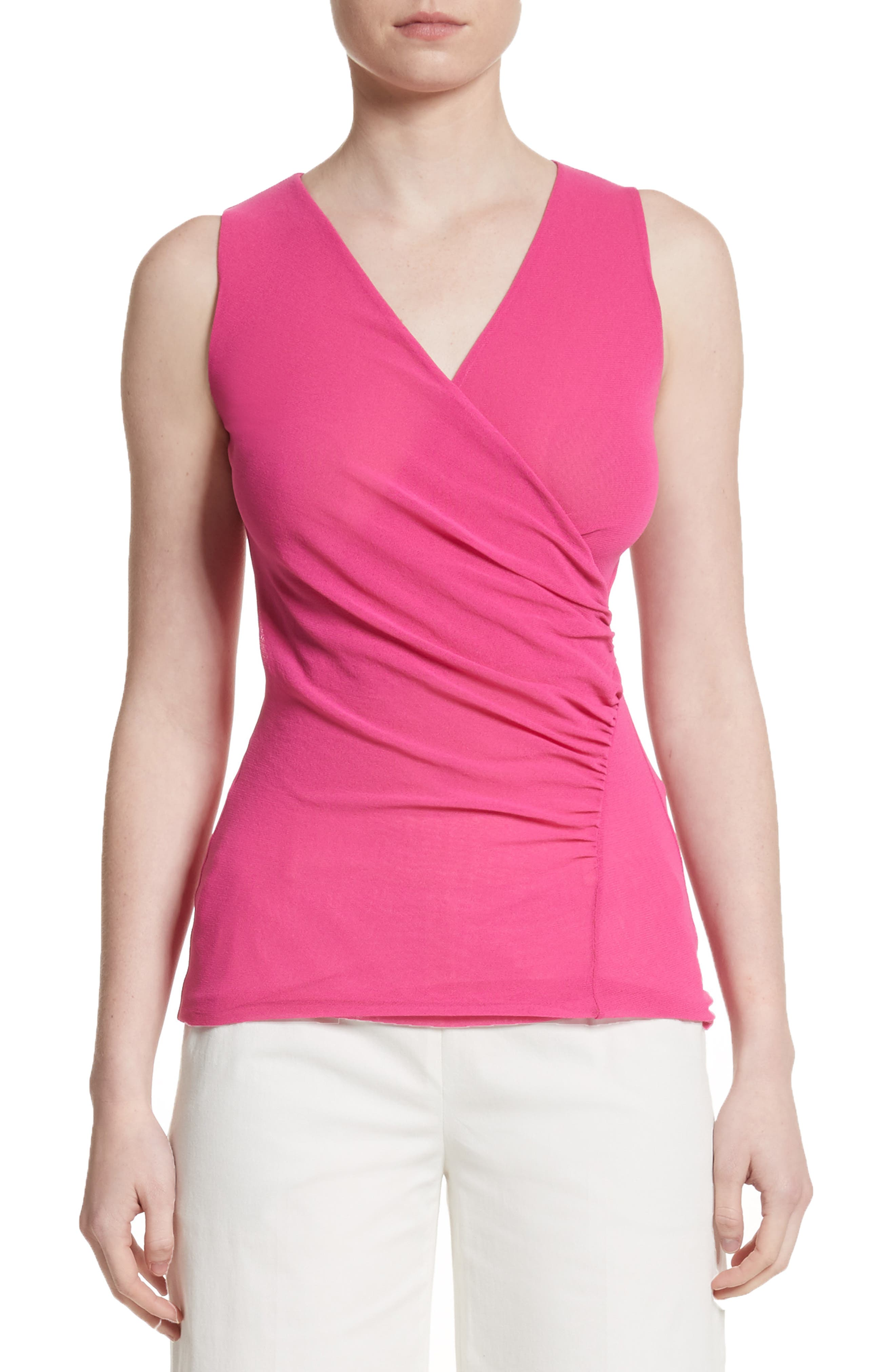 Ruched Tulle Tank,                         Main,                         color, Rosa Pesco