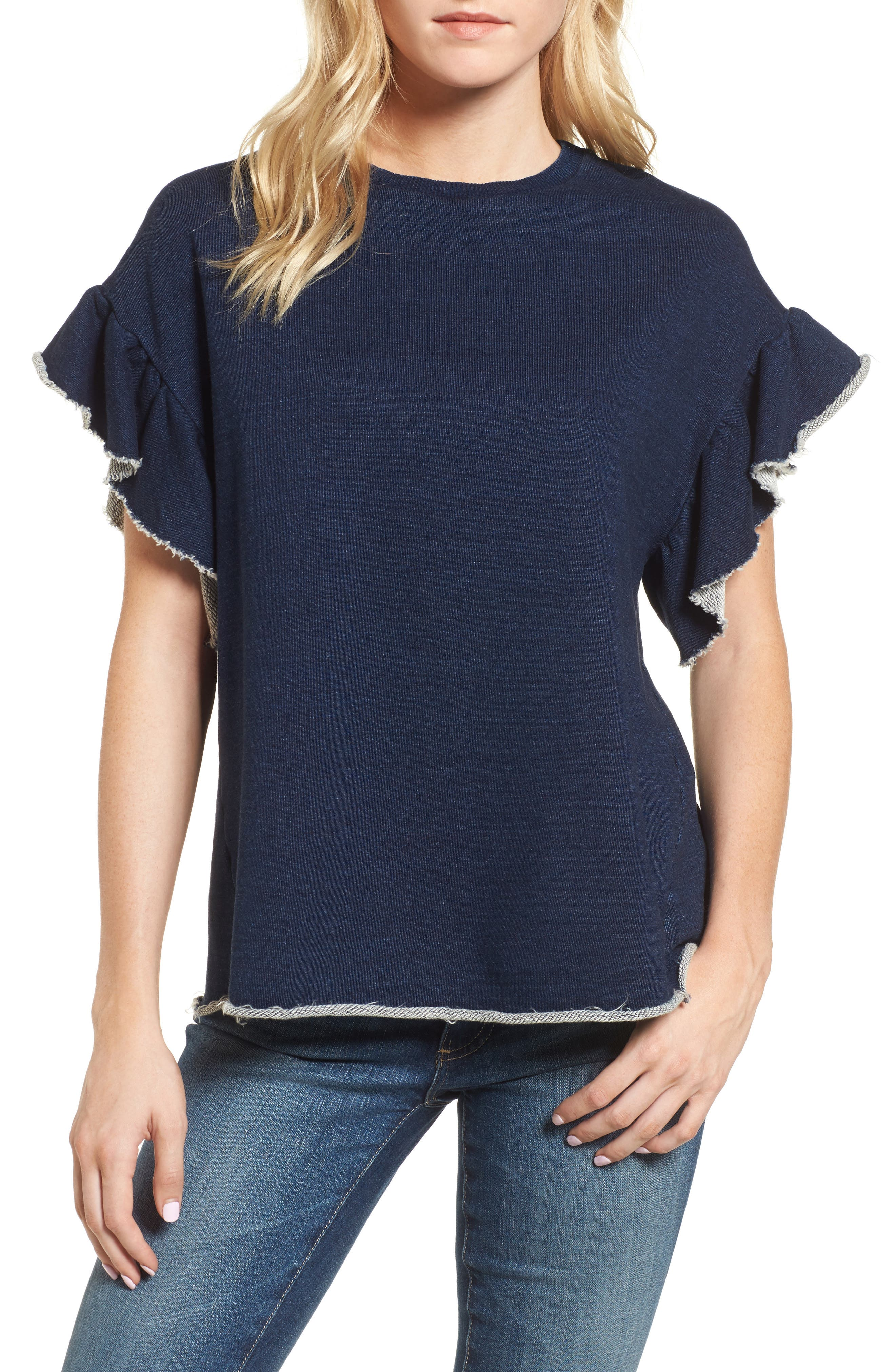 AG Gizi Ruffle Sleeve Sweatshirt