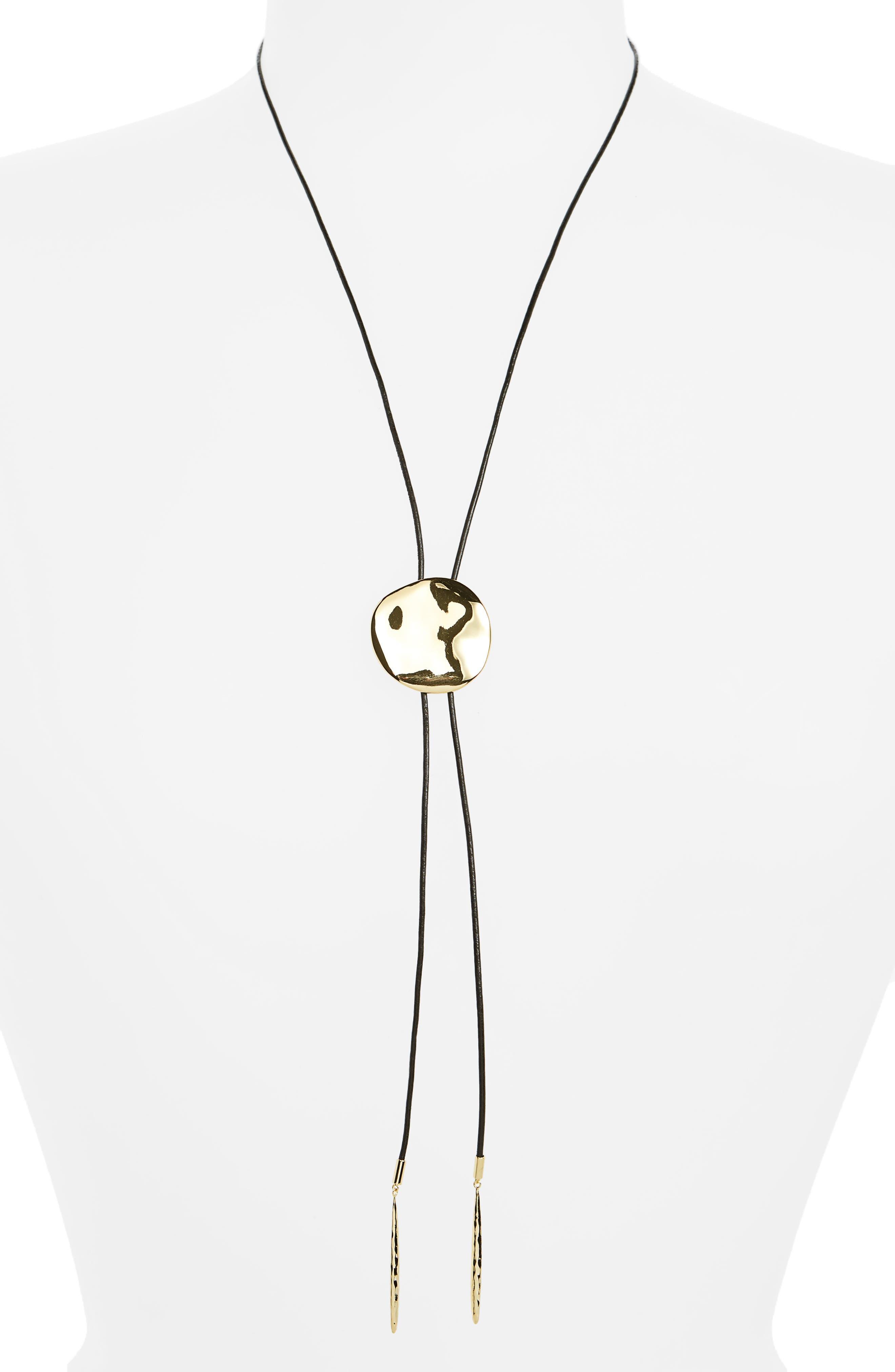 Chloe Adjustable Bolo Necklace,                         Main,                         color, Black / Gold