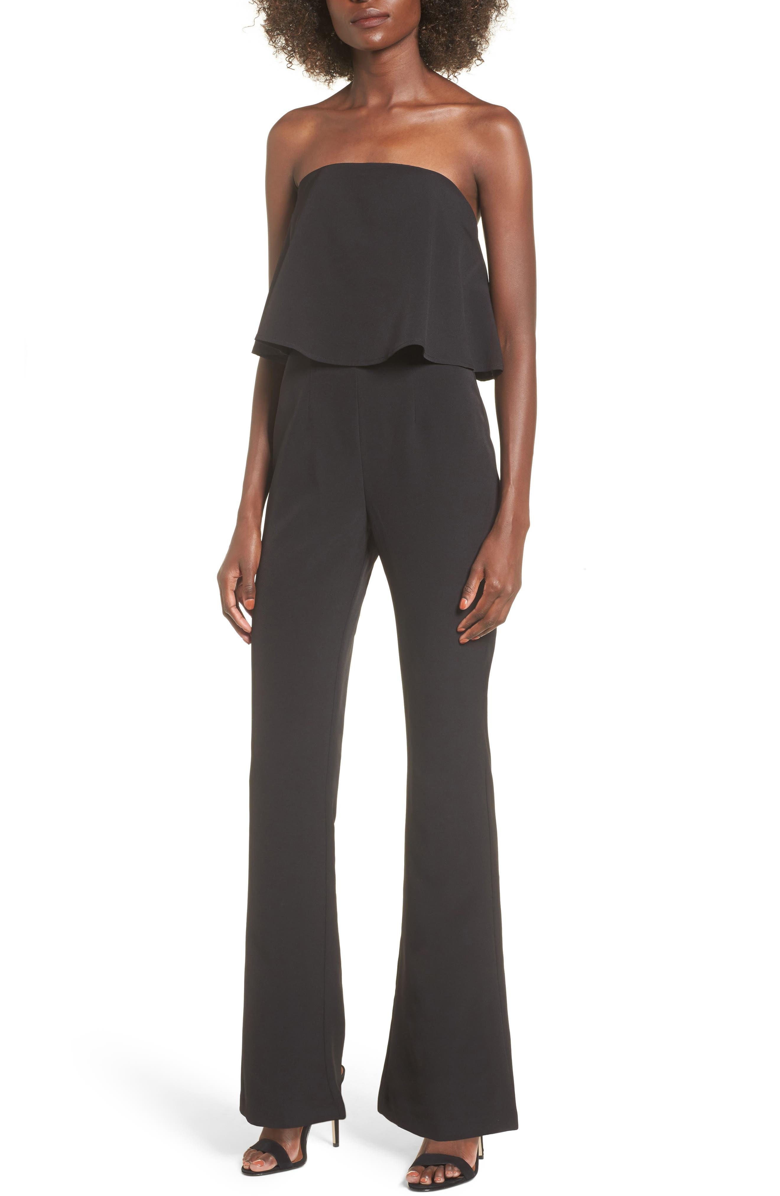 Popover Strapless Jumpsuit,                             Main thumbnail 1, color,                             Black