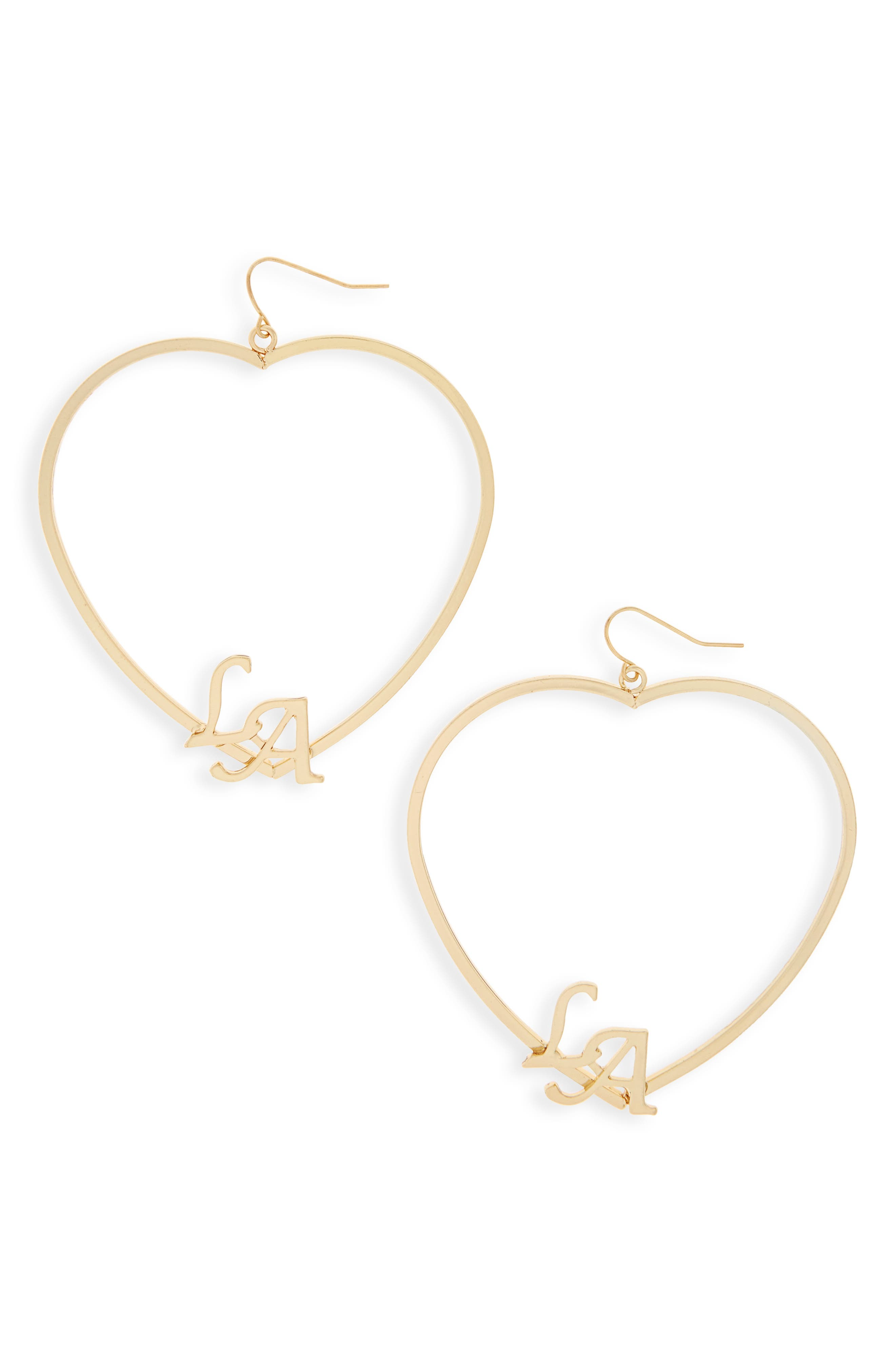 LA Heart Earrings,                         Main,                         color, Gold