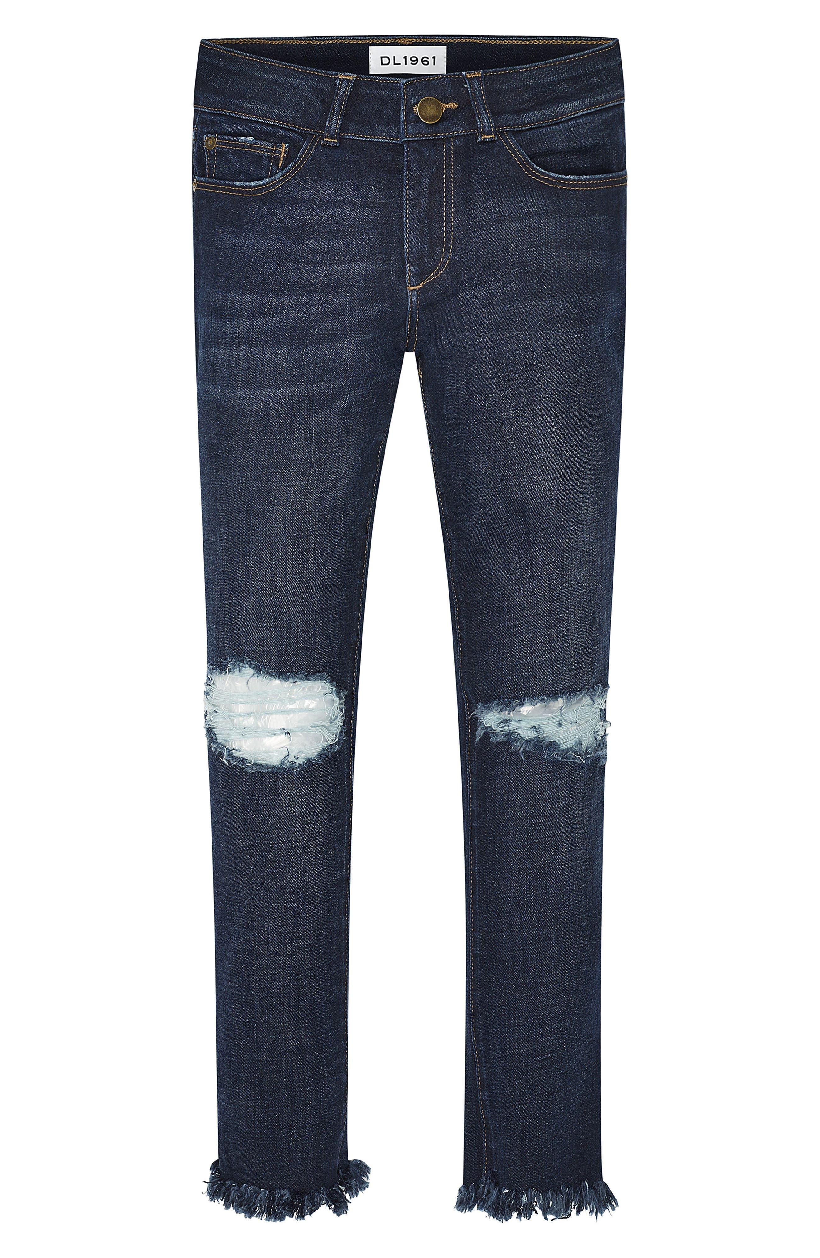 Alternate Image 1 Selected - DL1916 Chloe Distressed Skinny Jeans (Big Girls)