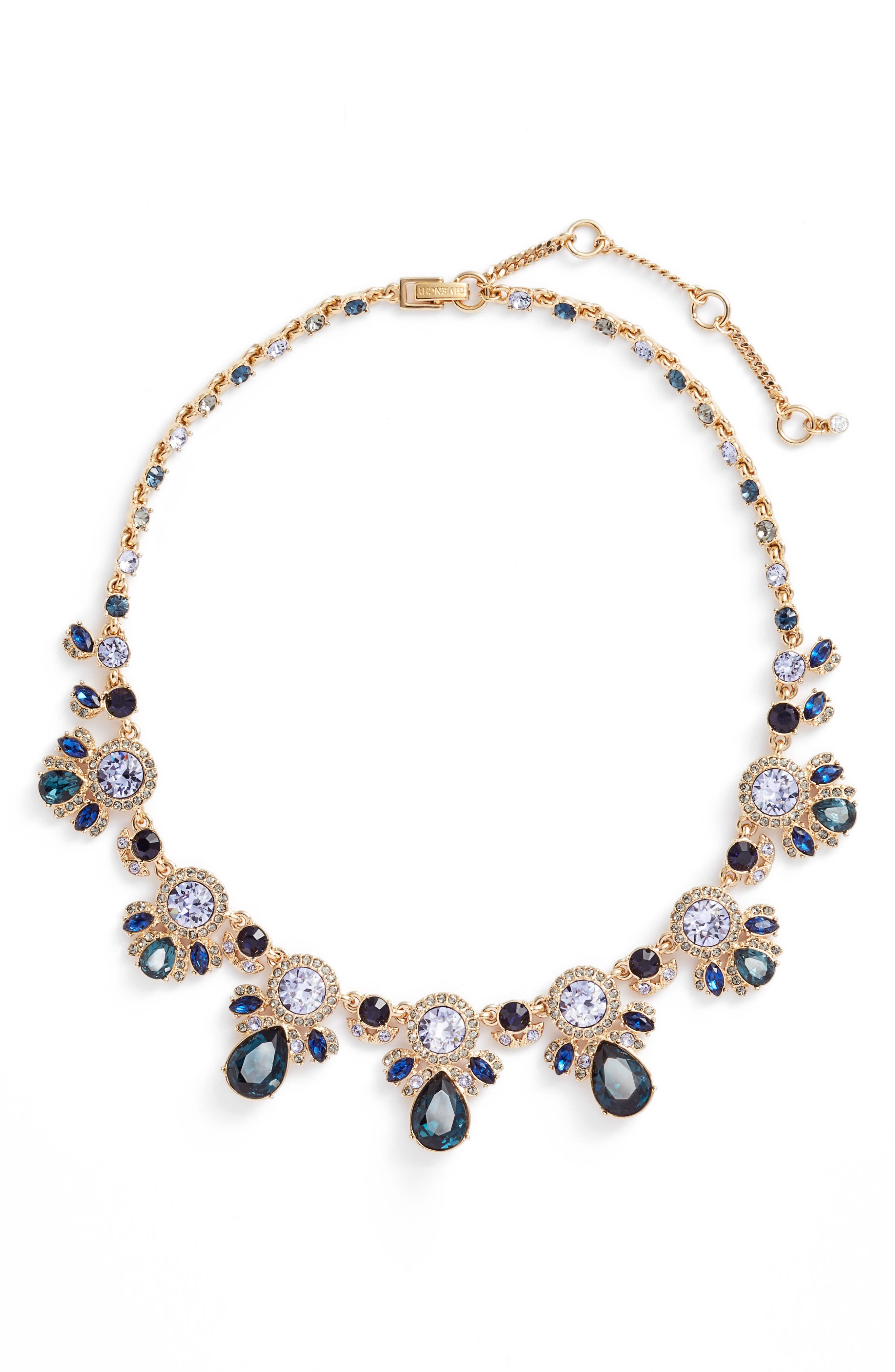 Drama Crystal Collar Necklace,                             Main thumbnail 1, color,                             Blue Multi/ Gold