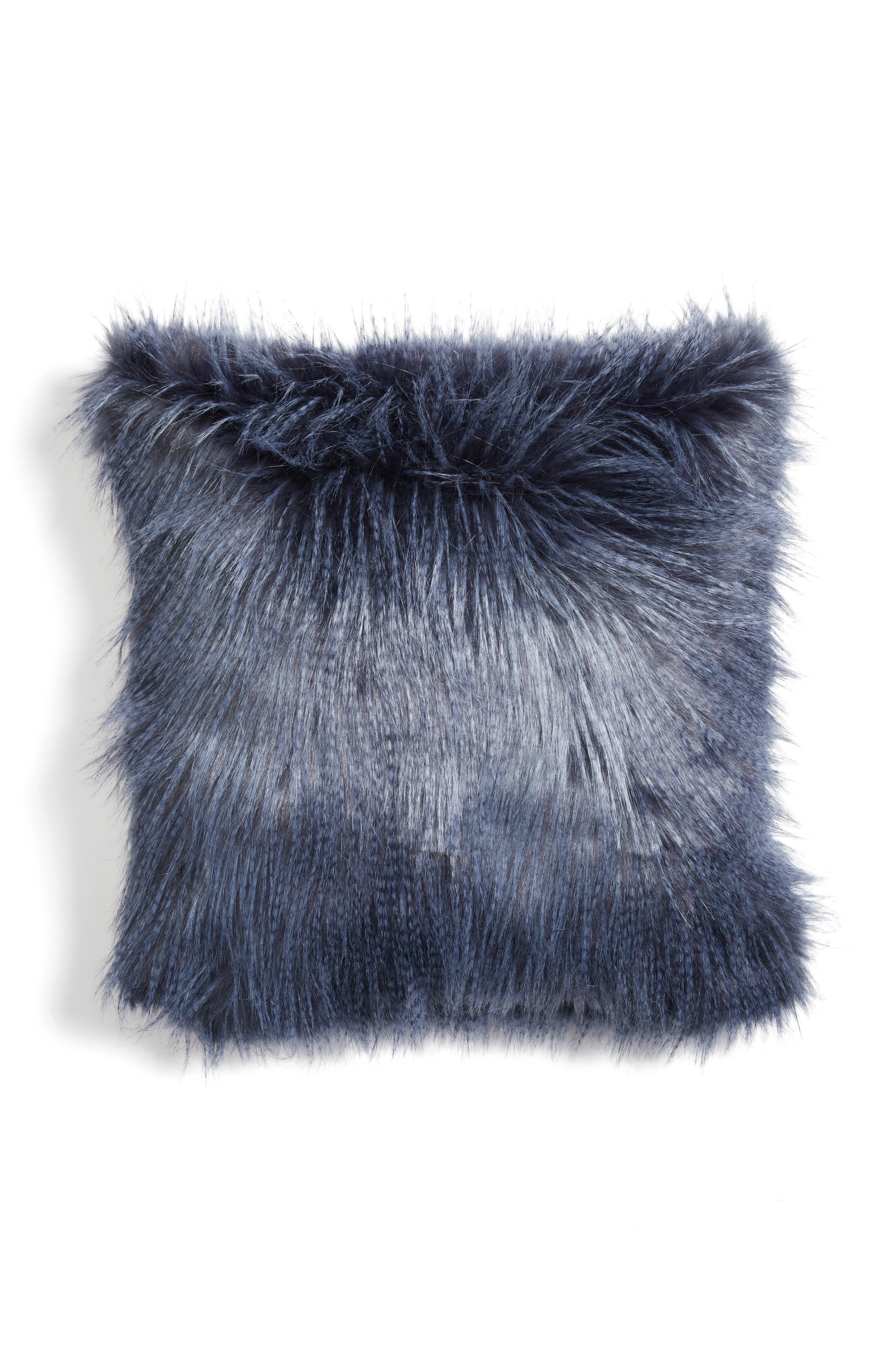 Fauna Faux Fur Pillow,                         Main,                         color, Navy Armada