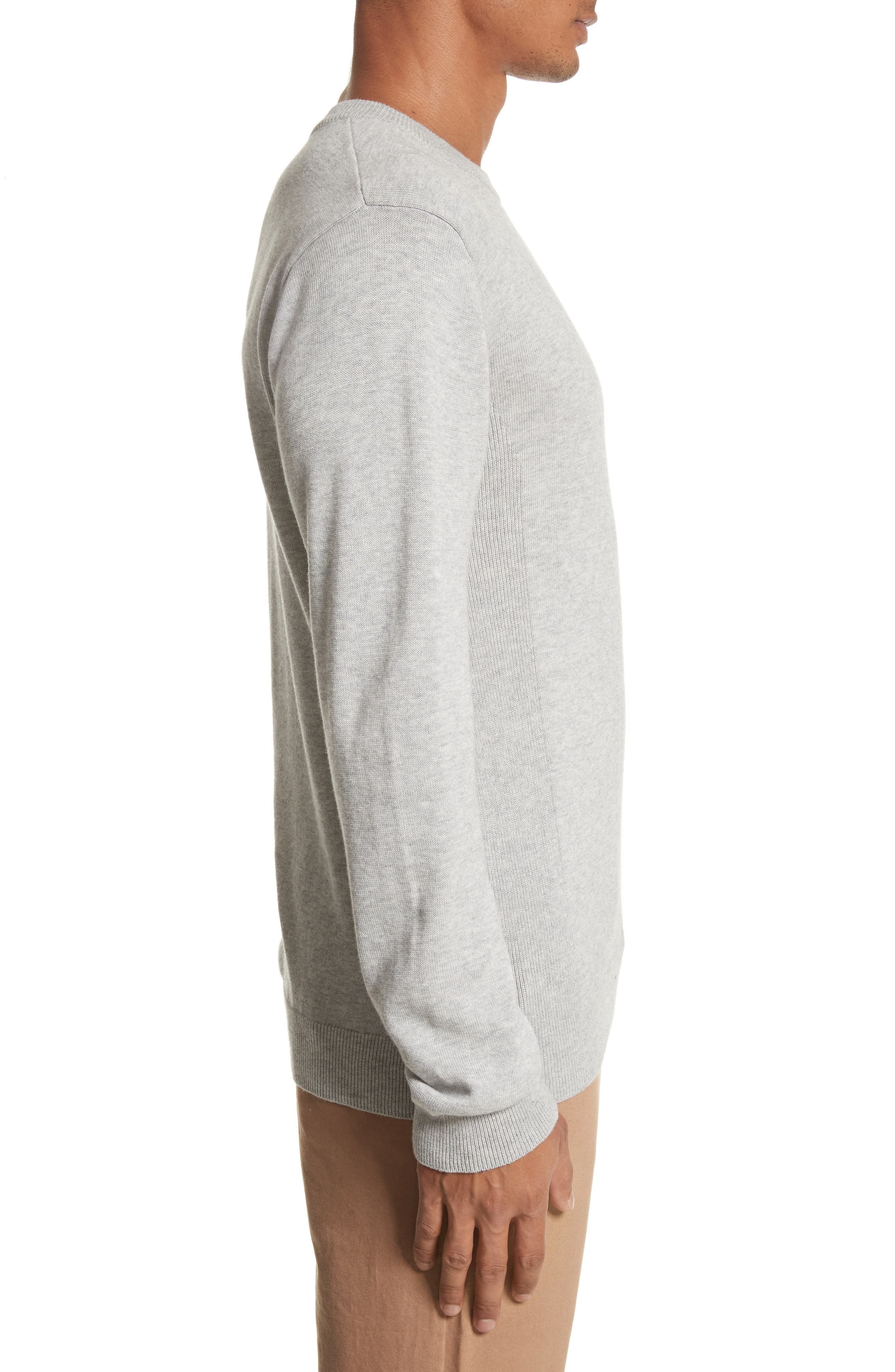 Merino Wool & Cashmere Pullover,                             Alternate thumbnail 3, color,                             Ash Heather