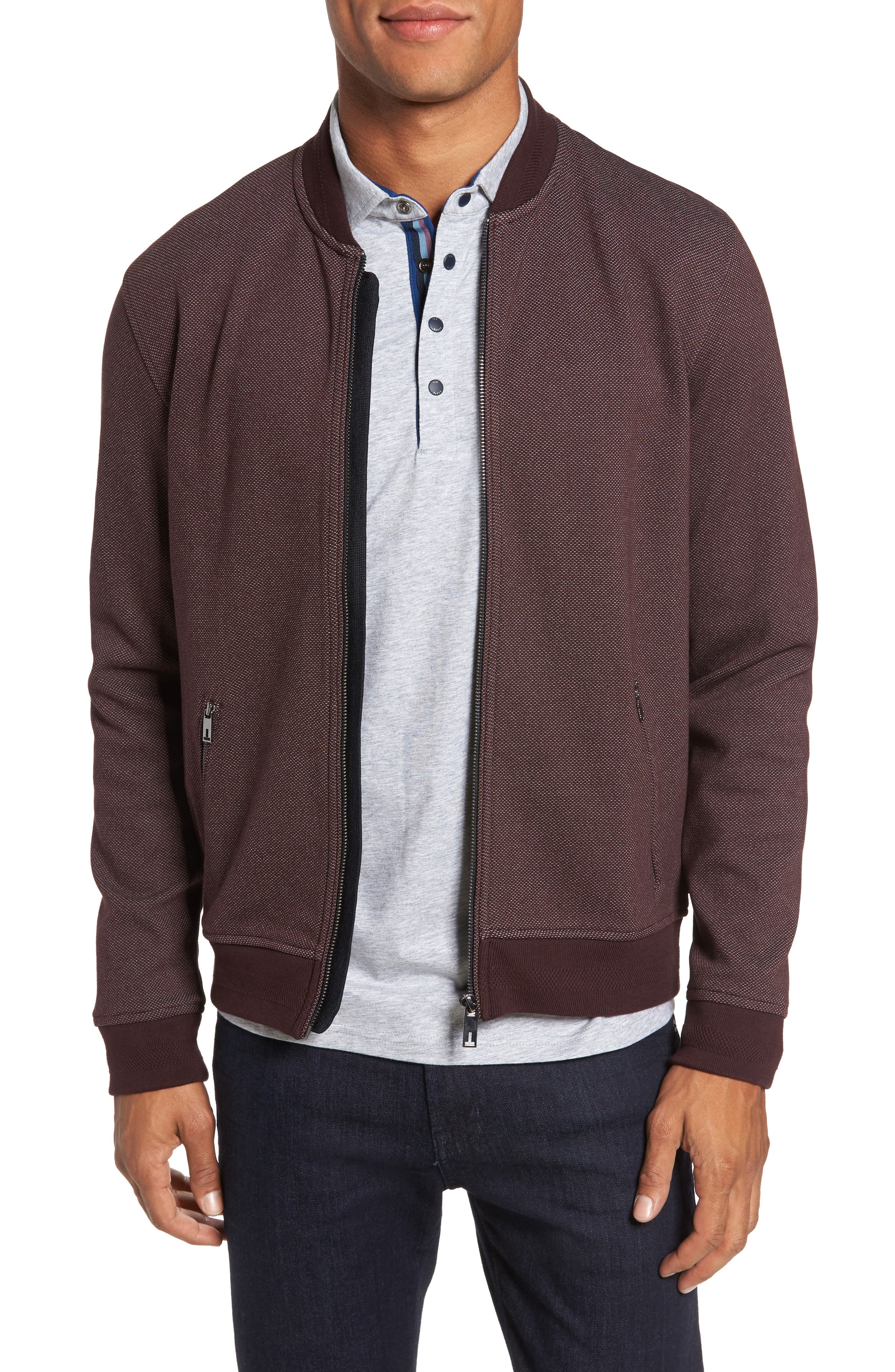 Fowler Jersey Bomber Jacket,                         Main,                         color, Dark Red