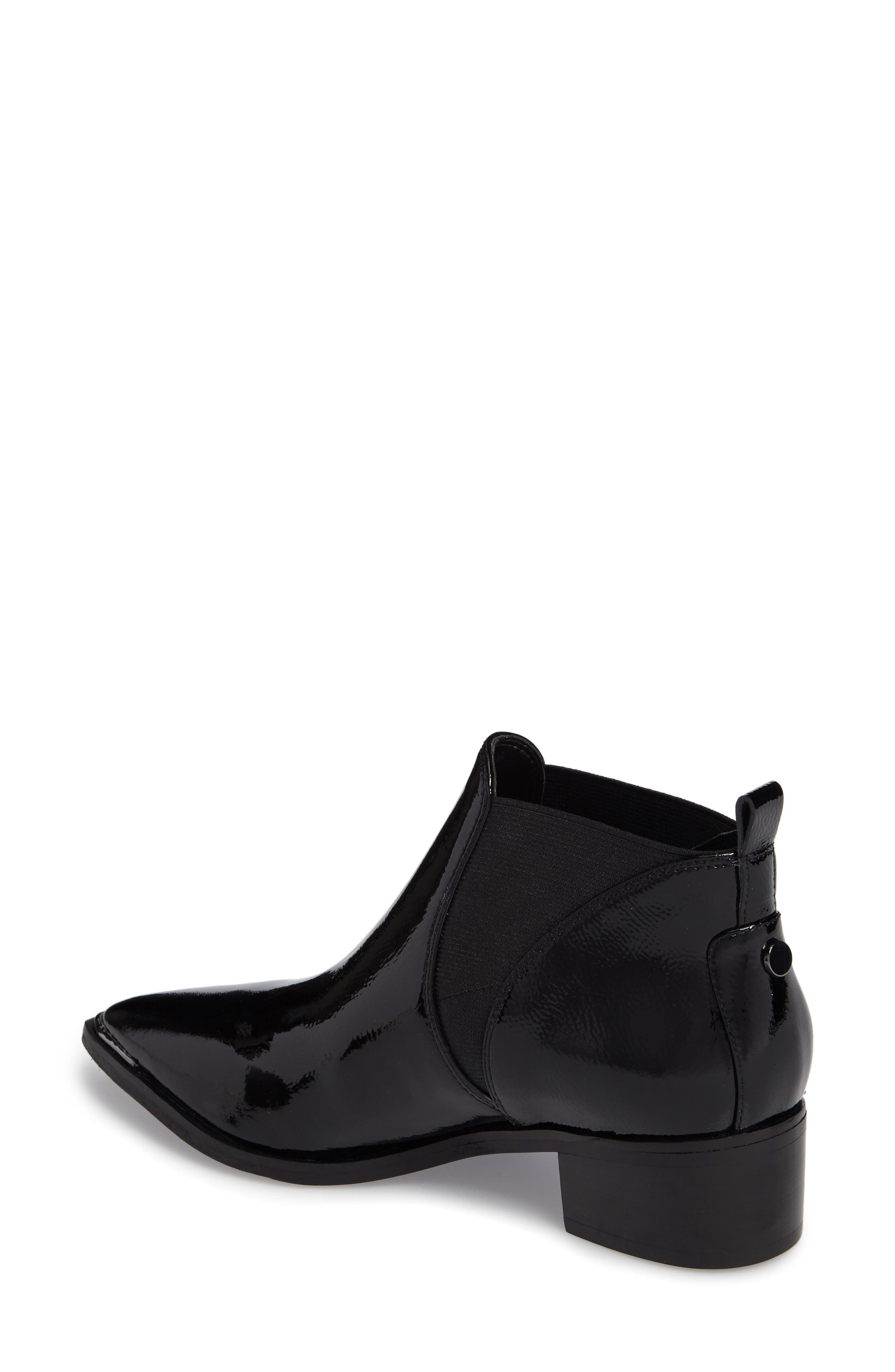 Yellin Pointy Toe Chelsea Boot,                             Alternate thumbnail 2, color,                             Black Patent Leather