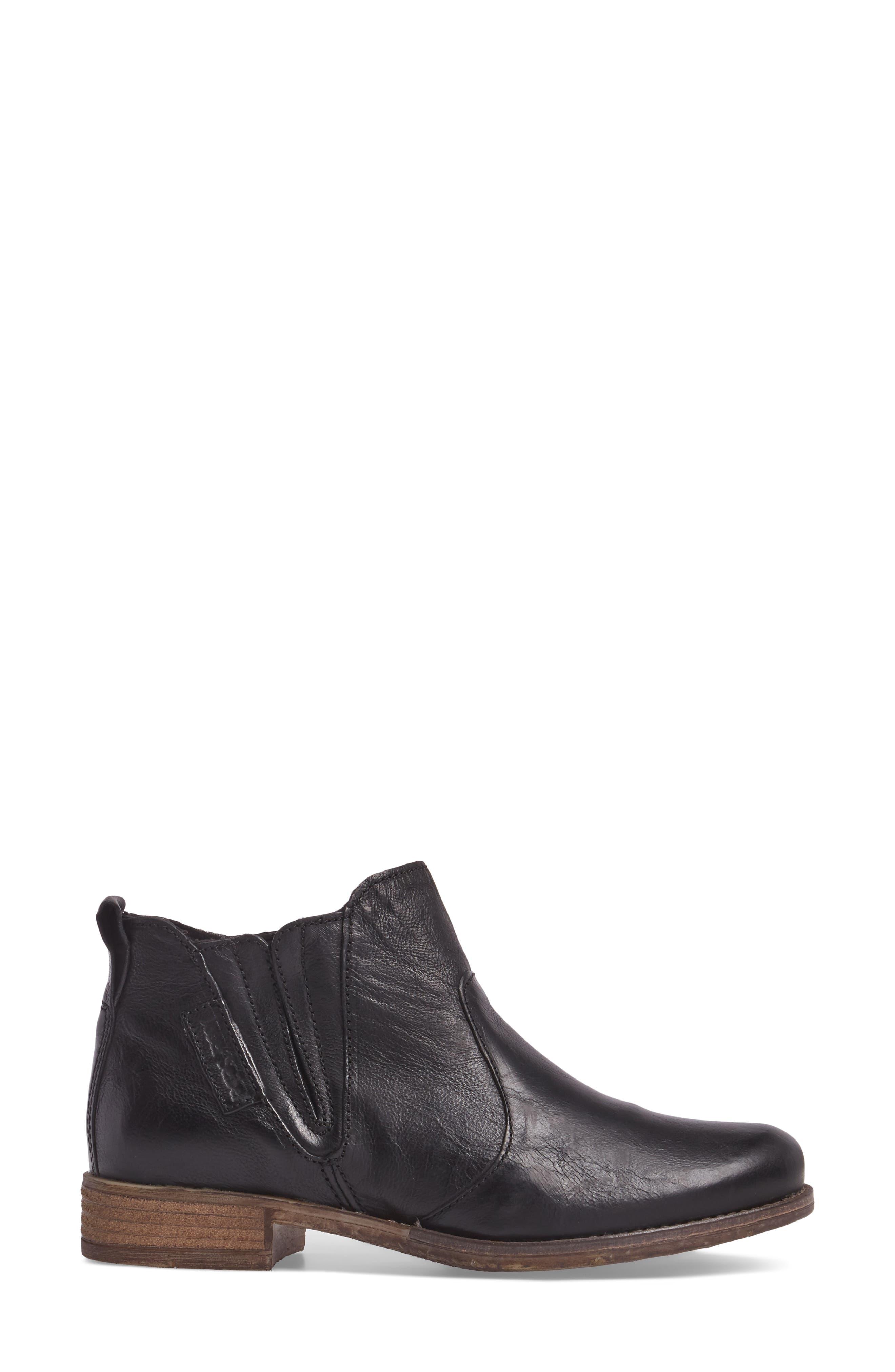 Sienna 45 Chelsea Bootie,                             Alternate thumbnail 3, color,                             Black Leather