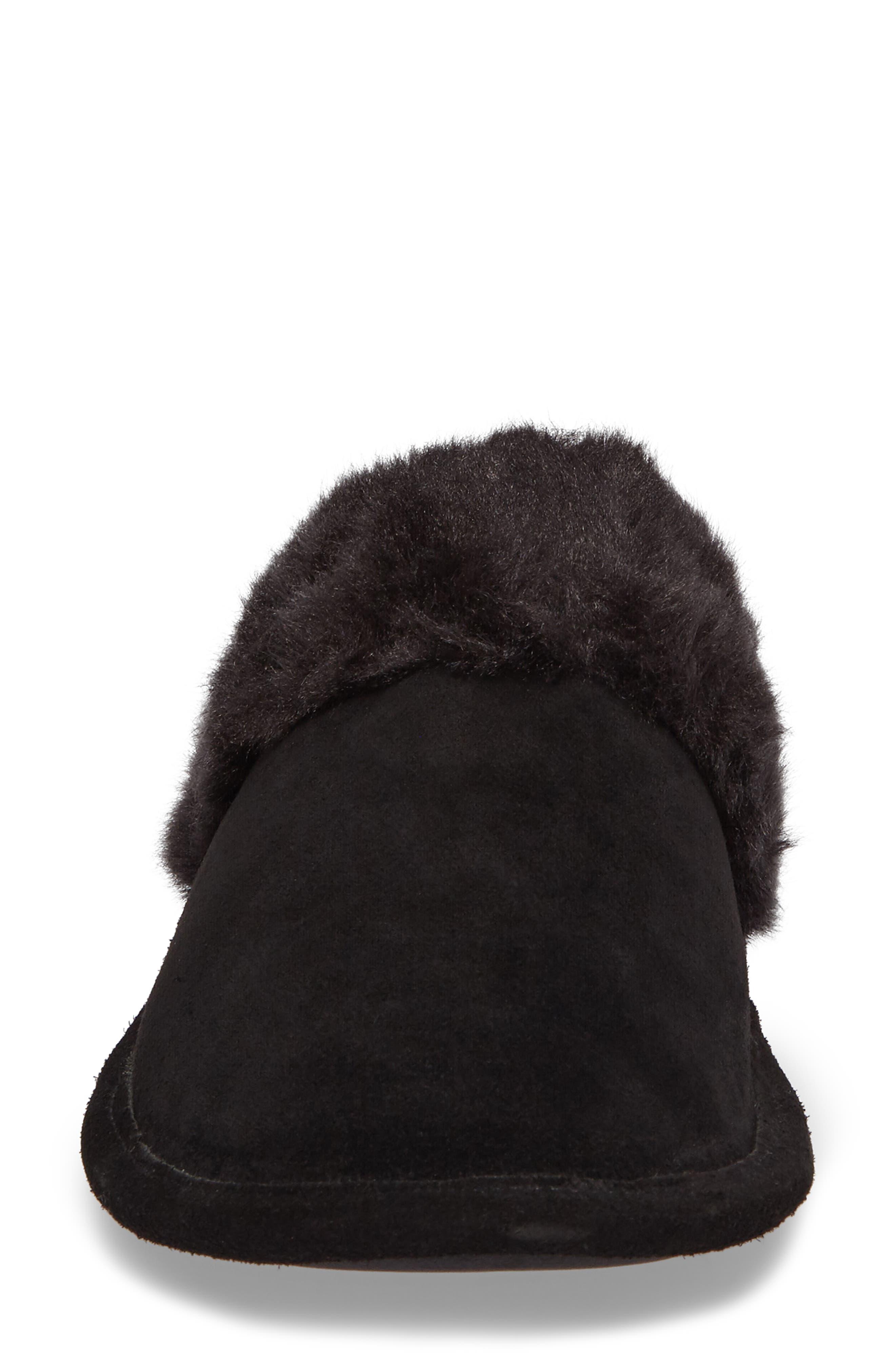 Pammy Faux Fur Slipper,                             Alternate thumbnail 4, color,                             Black Suede