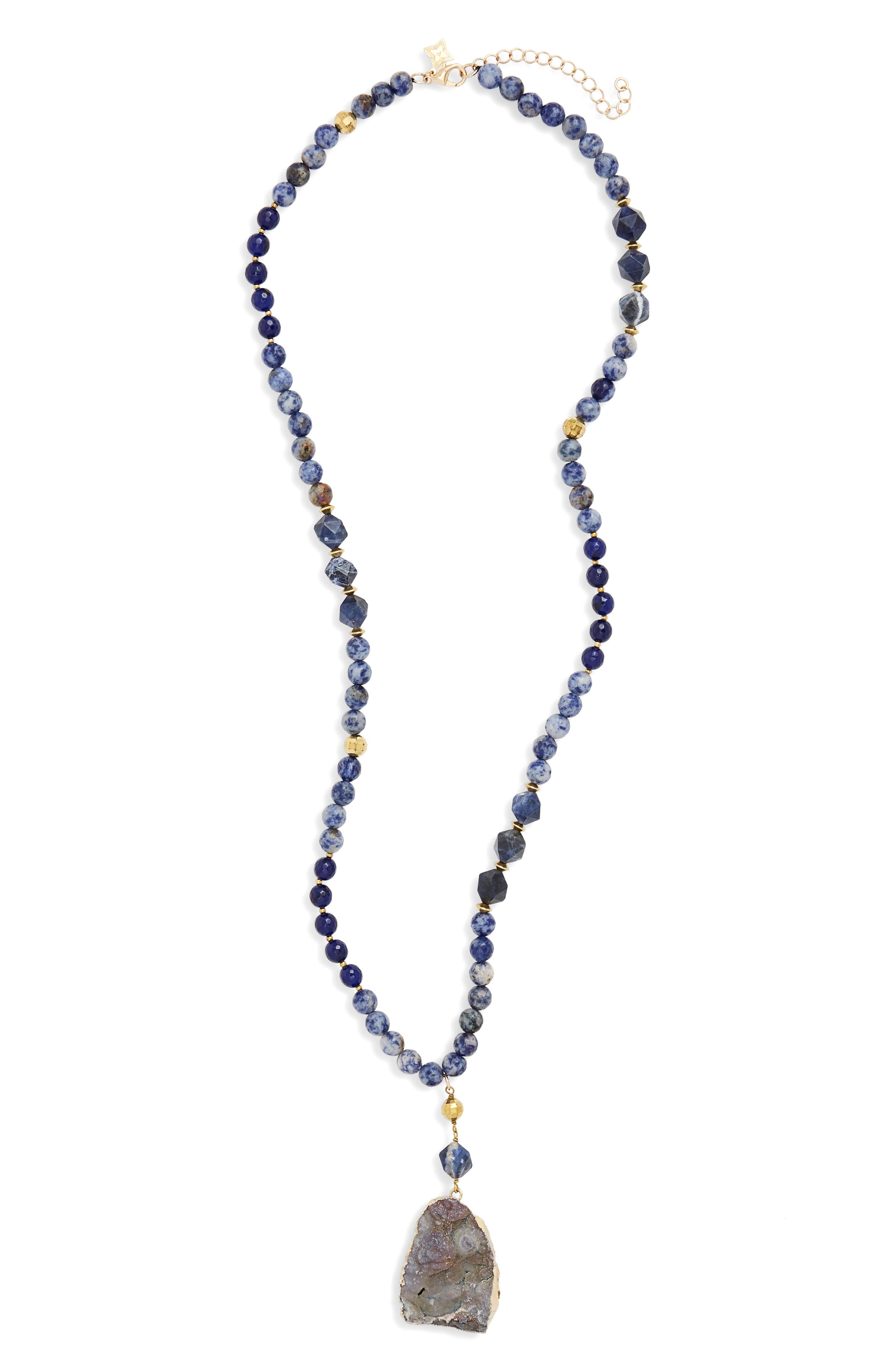 Stone Sunstone Pendant Necklace,                             Main thumbnail 1, color,                             Blue