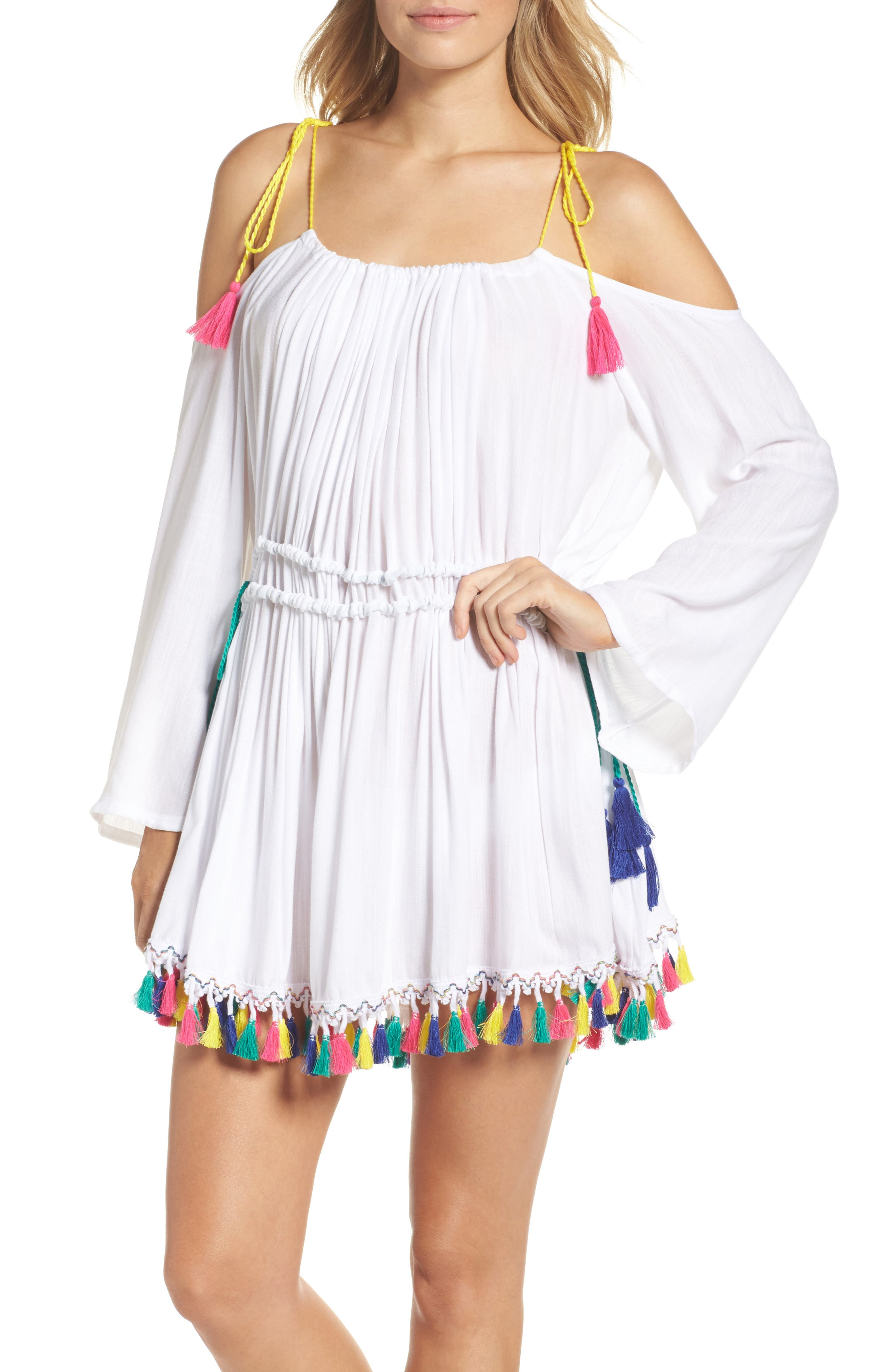 Fiesta Cover-Up Dress,                             Main thumbnail 1, color,                             White
