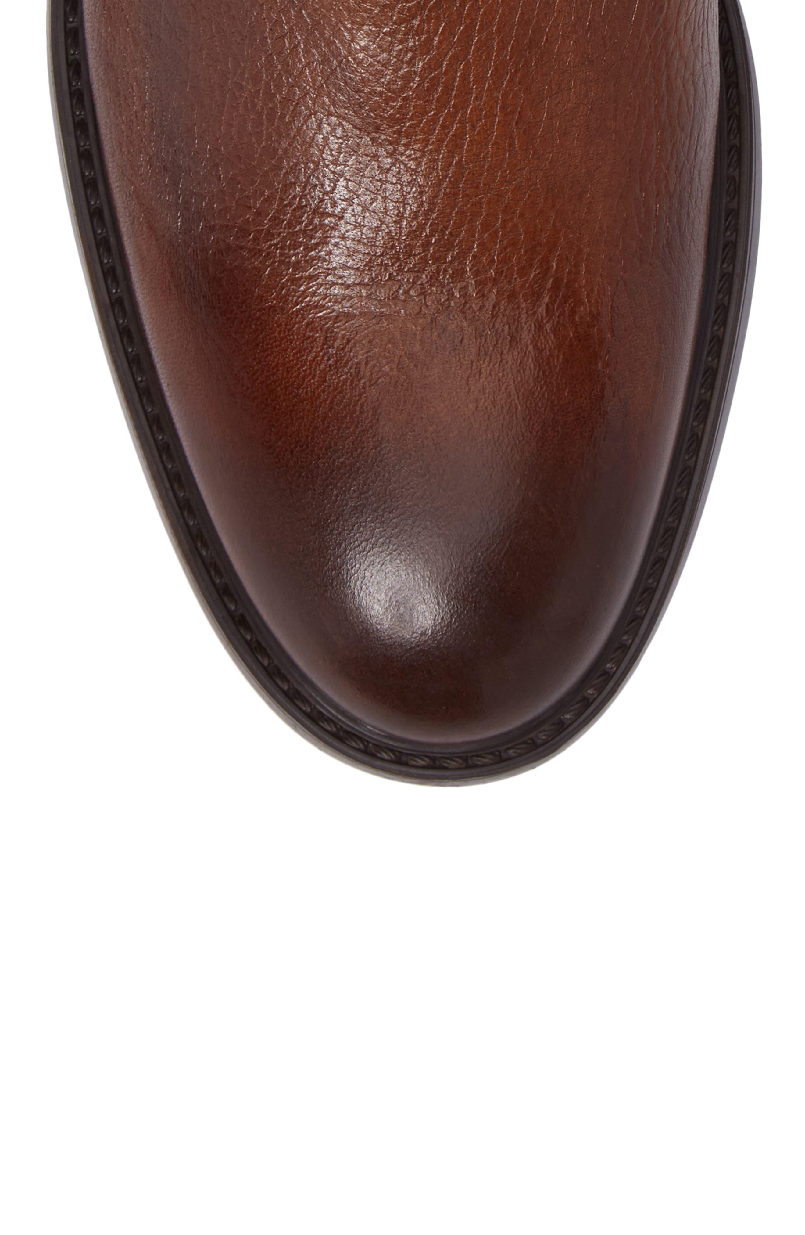 Chelsea Boot,                             Alternate thumbnail 5, color,                             Cognac Leather
