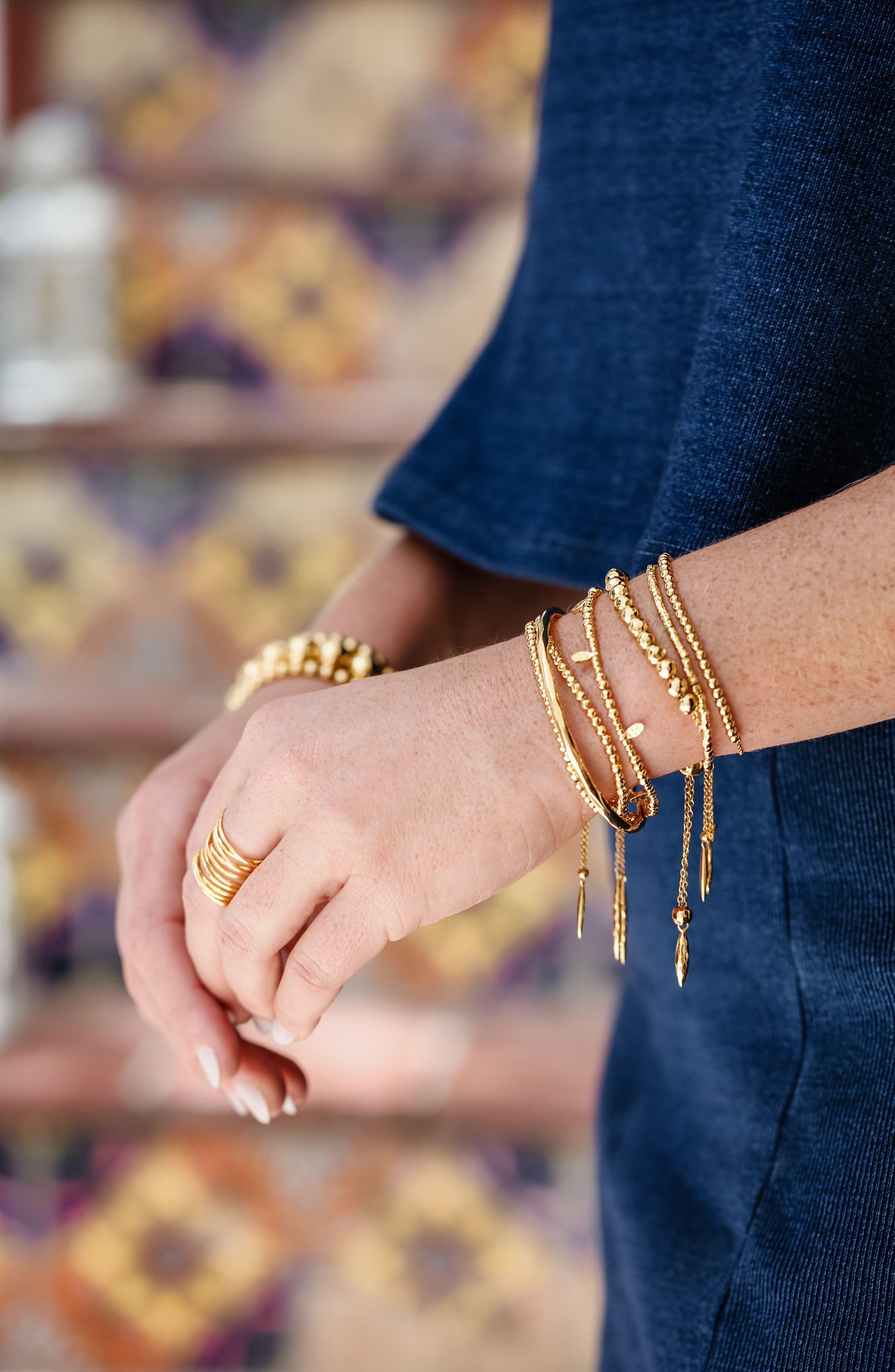 Leucadia Beaded Bracelet,                             Alternate thumbnail 4, color,                             Gold