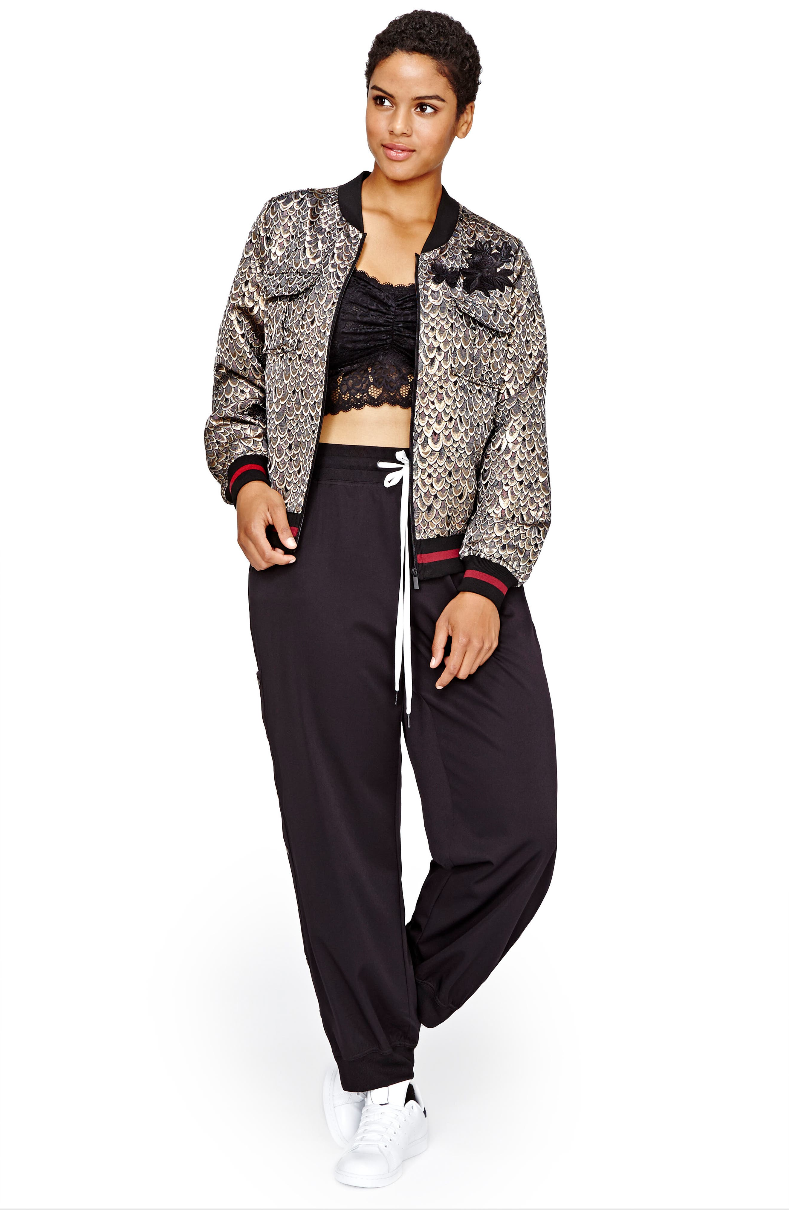 Jacquard Bomber Jacket,                             Alternate thumbnail 3, color,                             Rhododendron