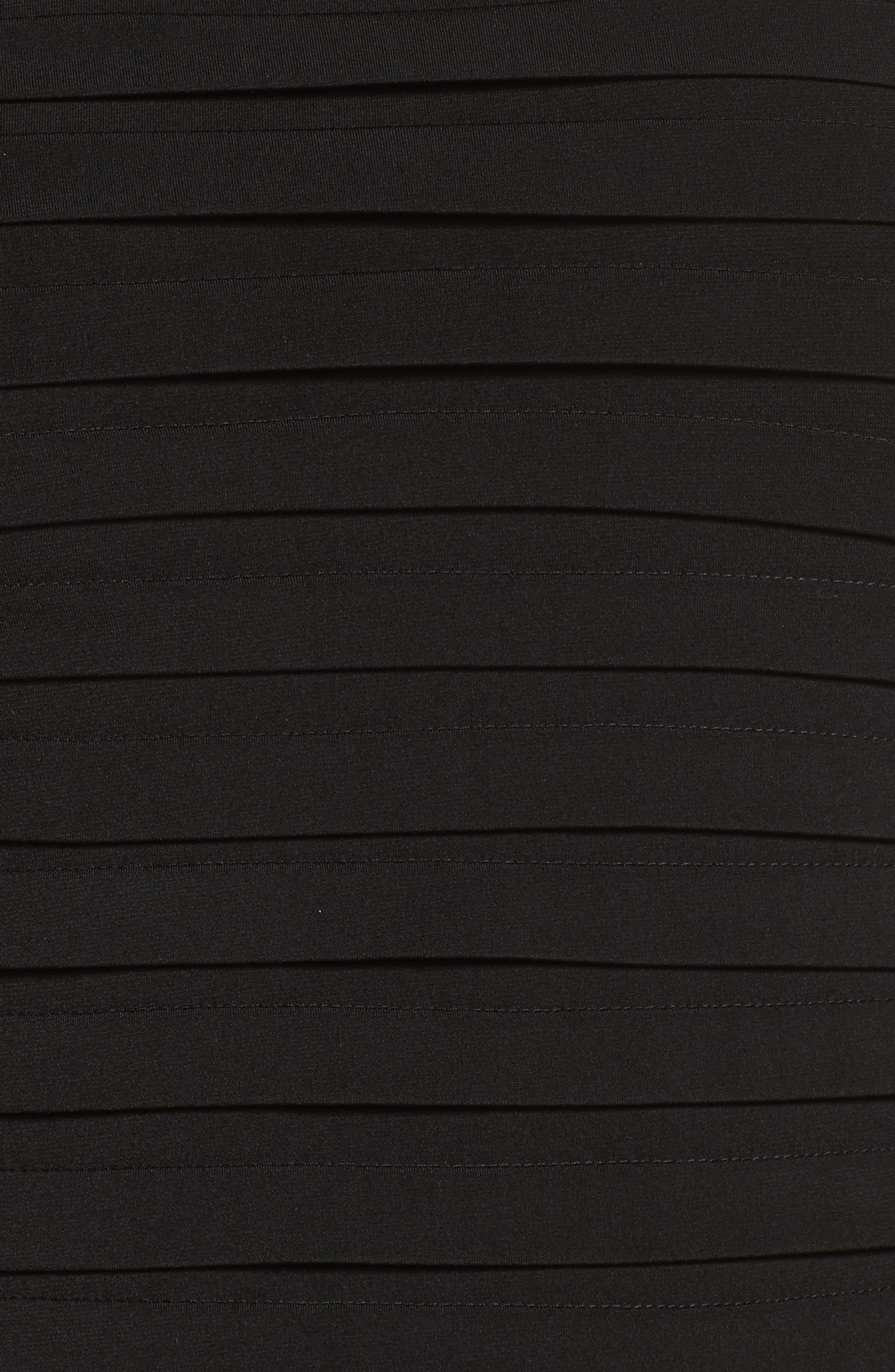 Velvet Trim Sheath Dress,                             Alternate thumbnail 5, color,                             Black