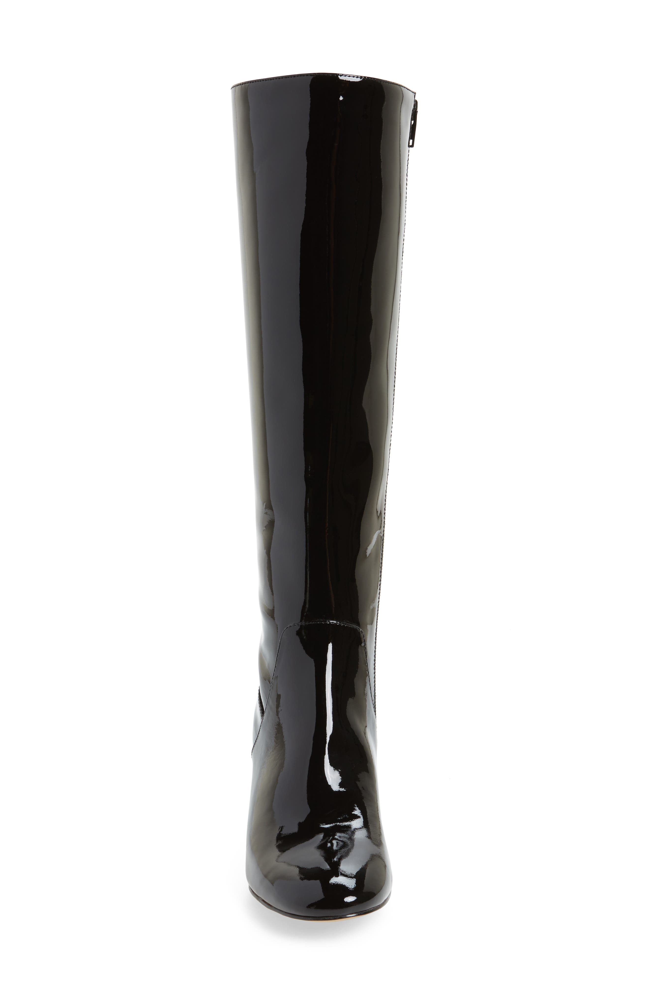Adelle Knee High Boot,                             Alternate thumbnail 4, color,                             Black Patent Leather