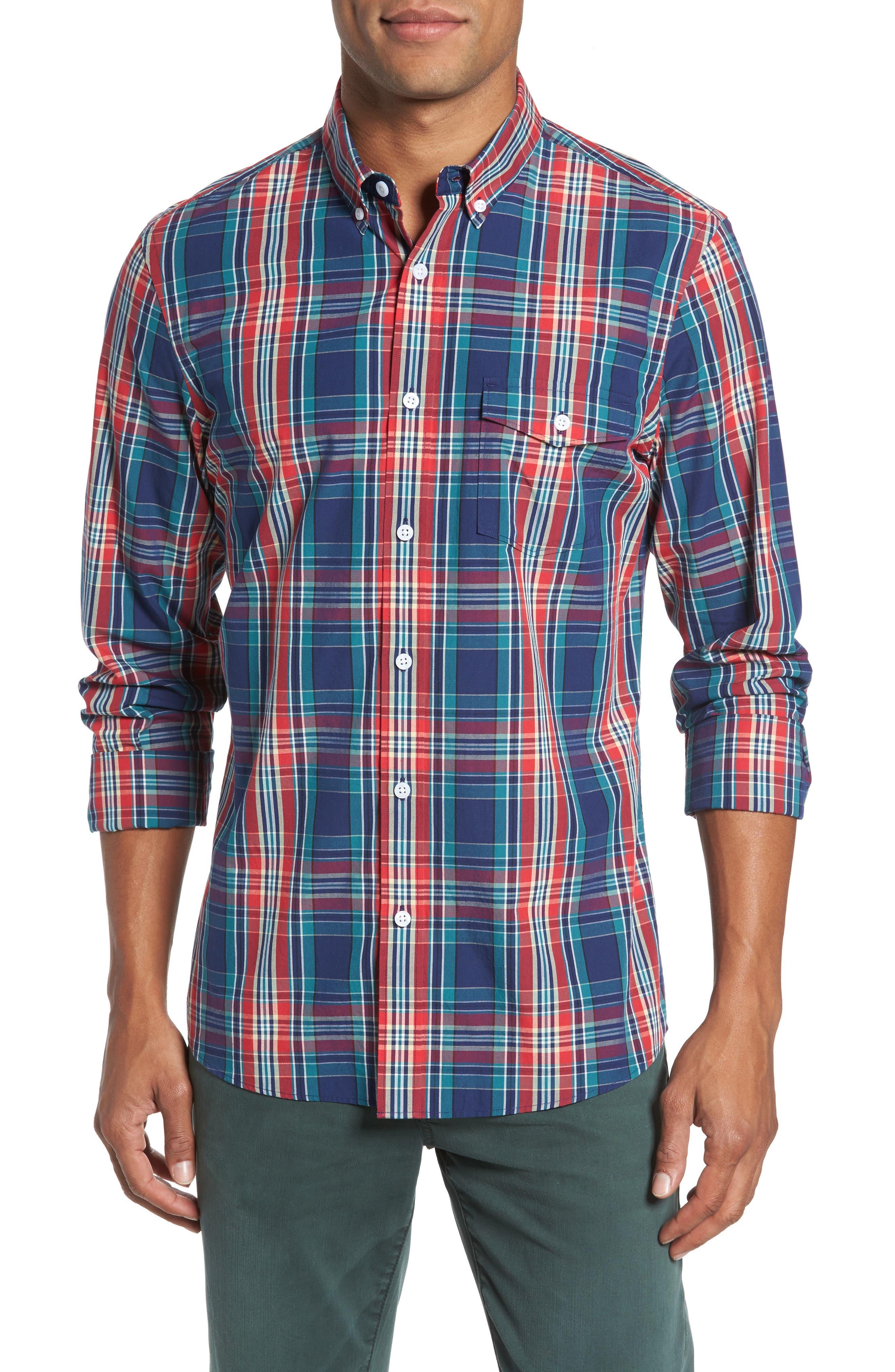 Ivy Trim Fit Plaid Sport Shirt,                         Main,                         color, Red Chili Multi Plaid