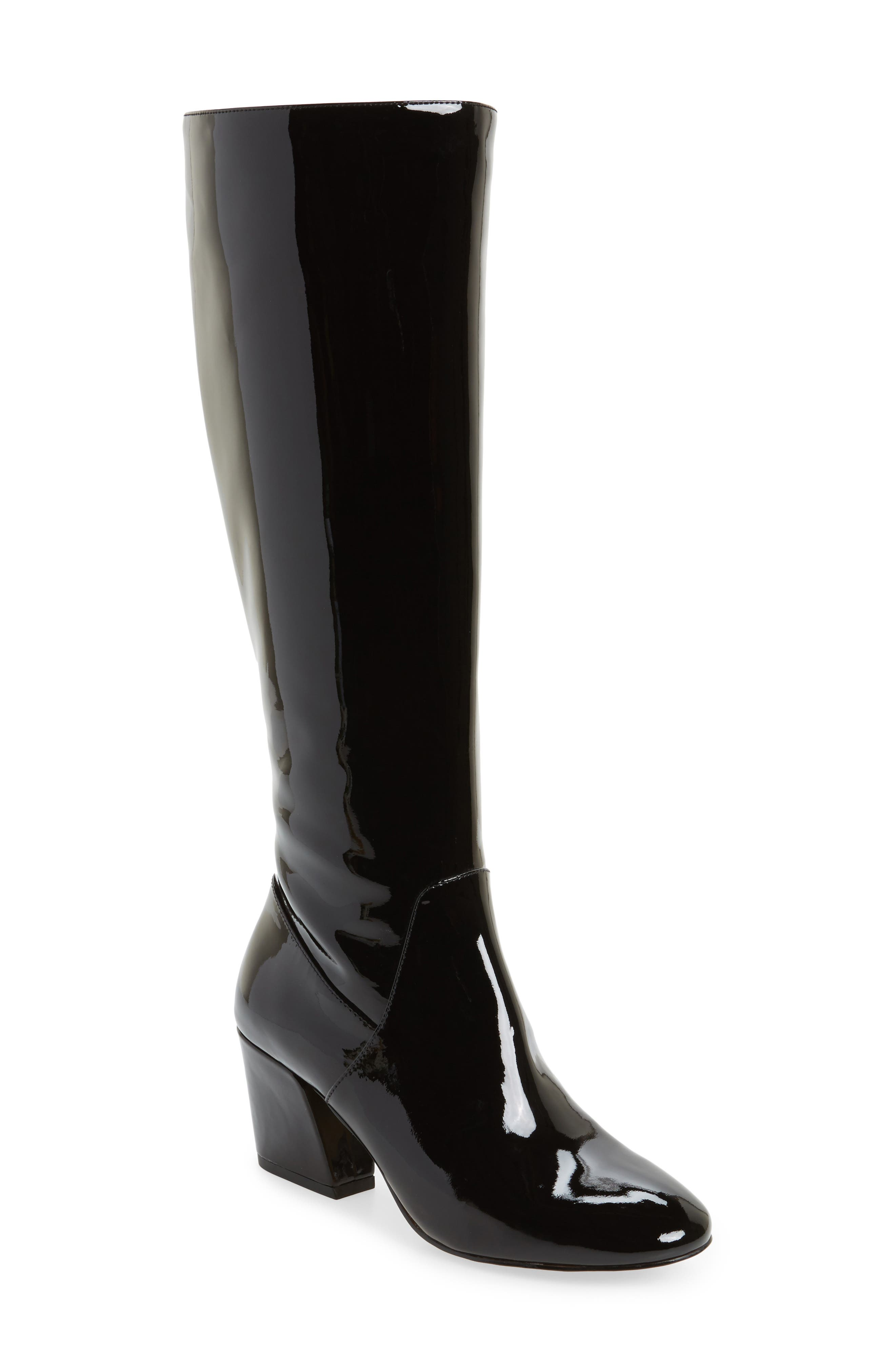 Adelle Knee High Boot,                         Main,                         color, Black Patent Leather