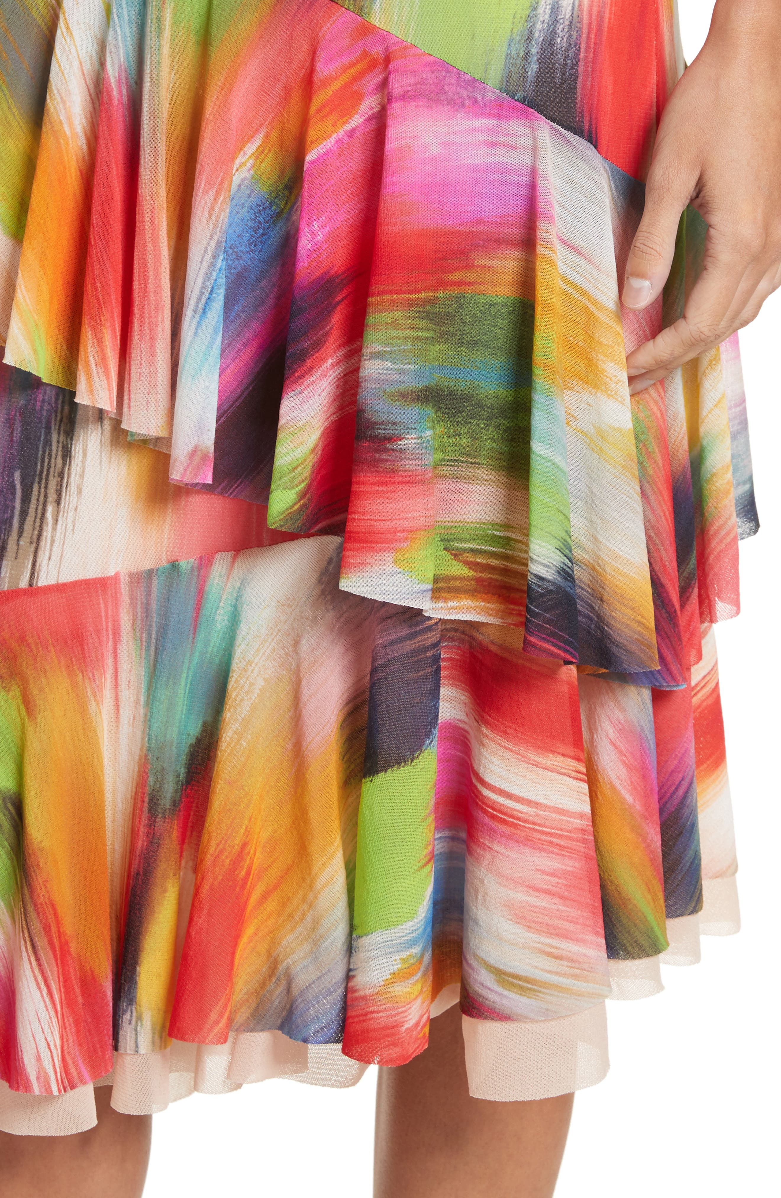 Alternate Image 4  - Fuzzi Ruffle Print Tulle Midi Skirt