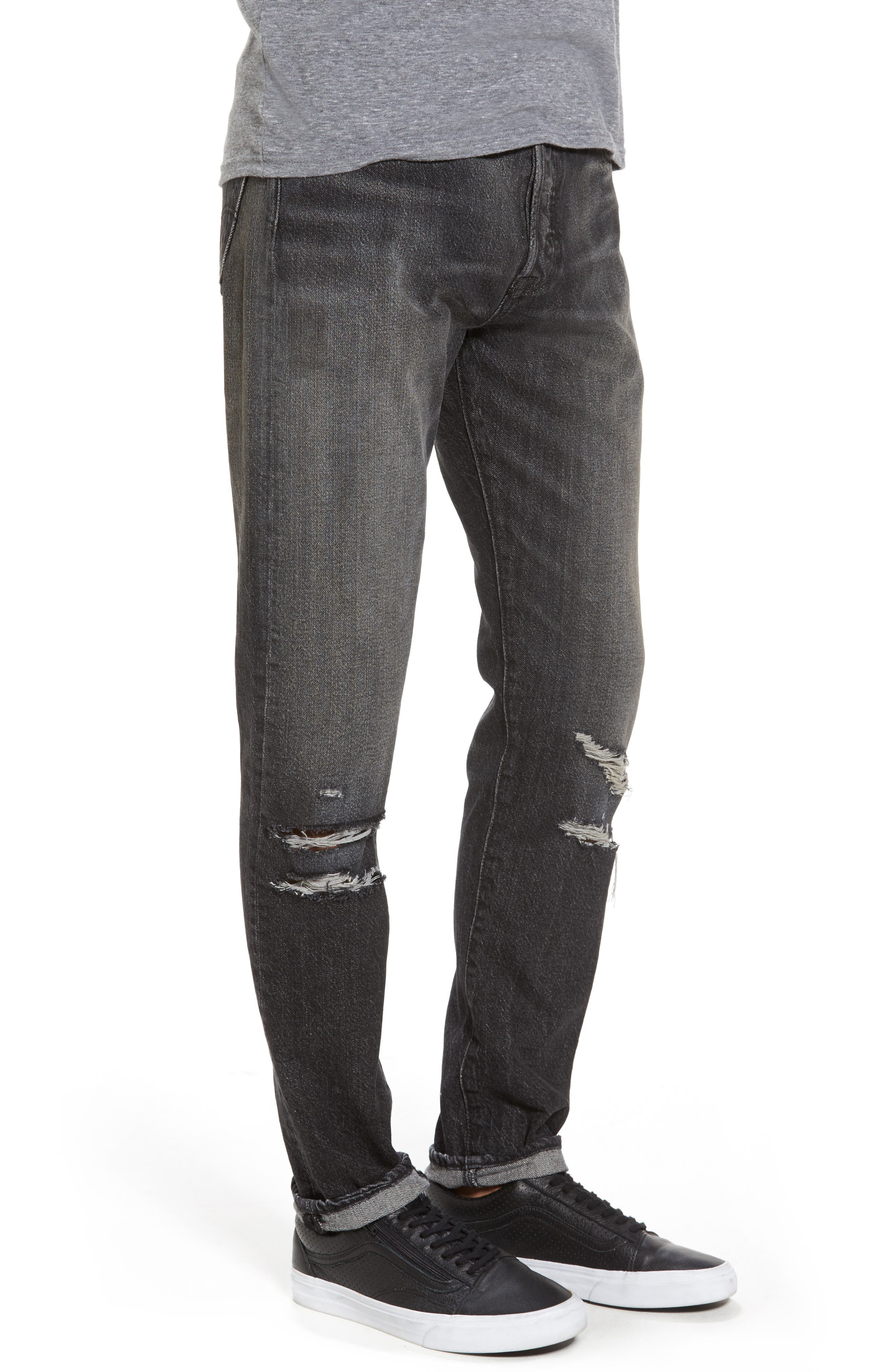 Alternate Image 3  - Levi's® 501™ Slouchy Tapered Slim Fit Jeans (Black Moor)