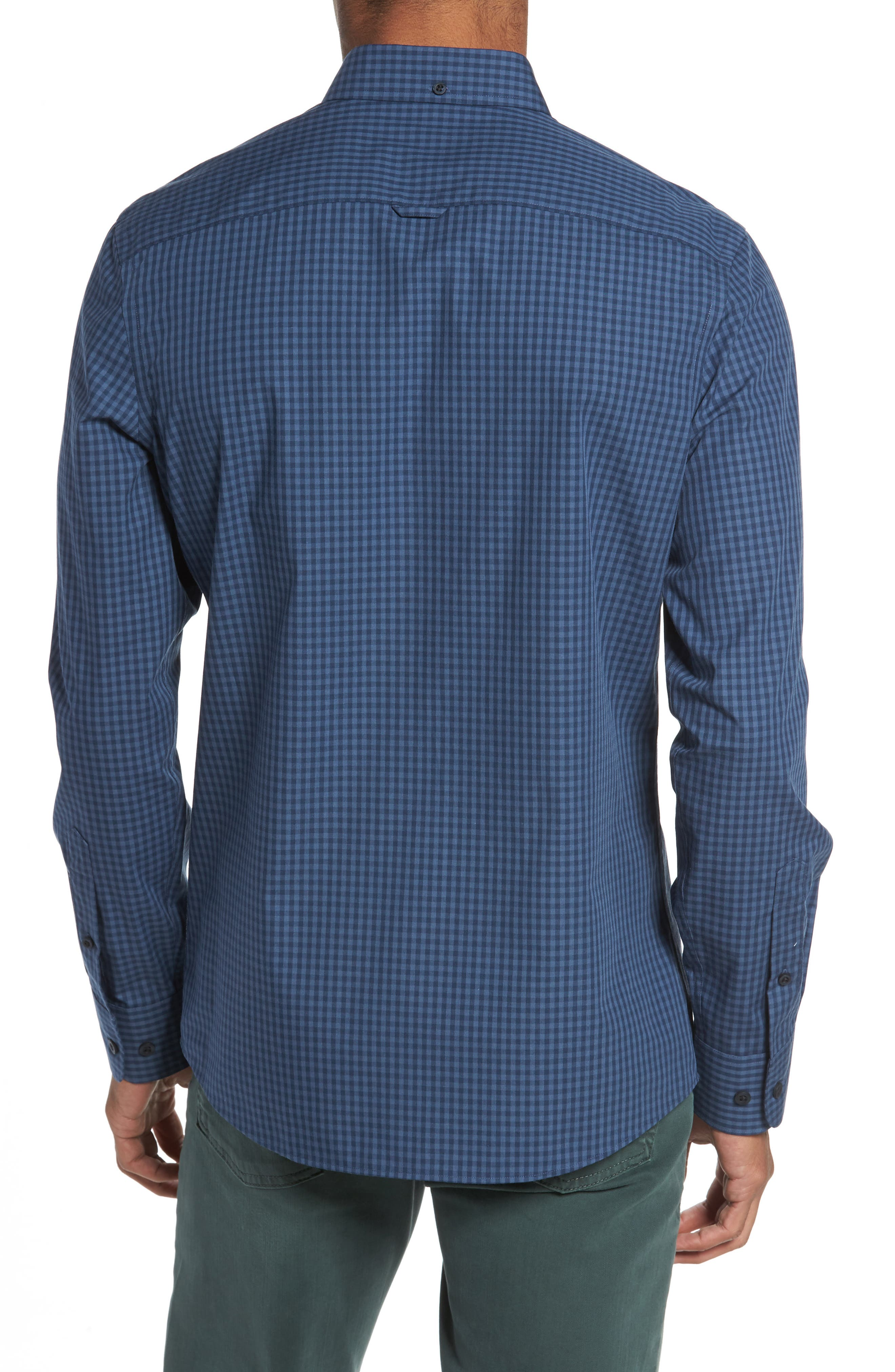 Trim Fit Non-Iron Gingham Sport Shirt,                             Alternate thumbnail 2, color,                             Blue Vintage Navy Gingham