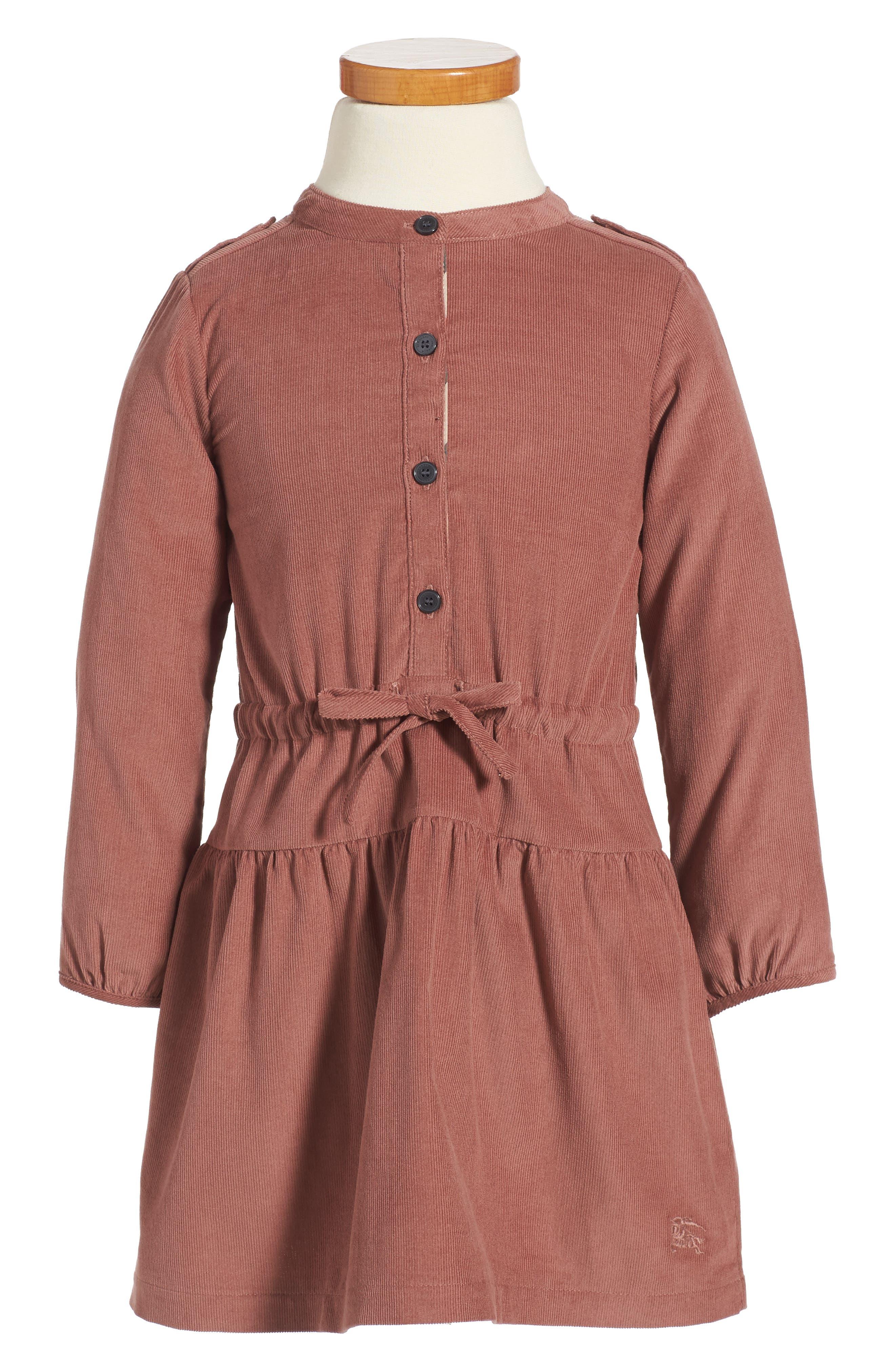 Main Image - Burberry Mini Celestine Corduroy Dress (Toddler Girls)