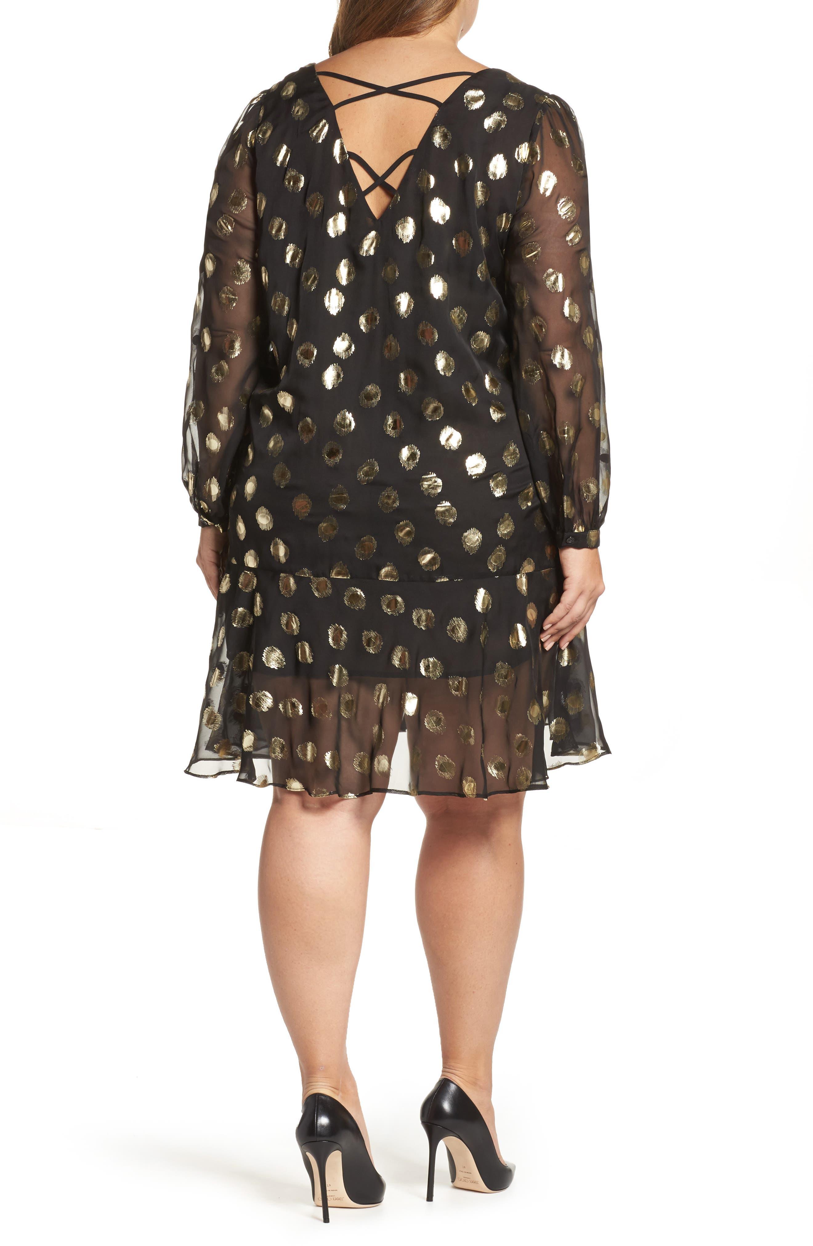 Metallic Dot Drop Waist Dress,                             Alternate thumbnail 3, color,                             Black Gold Spot