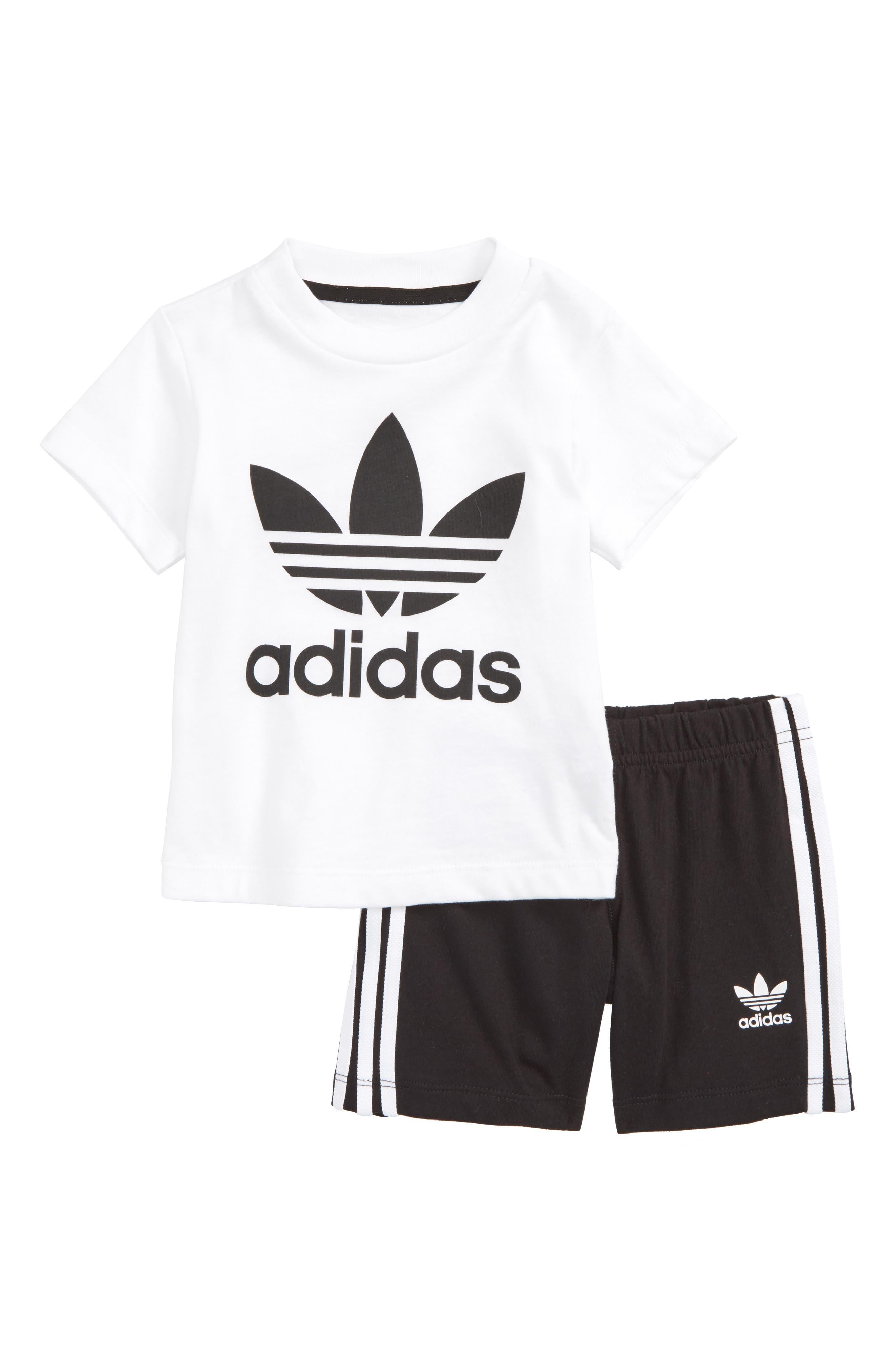 Originals Graphic T-Shirt & Shorts Set,                             Main thumbnail 1, color,                             White/ Black
