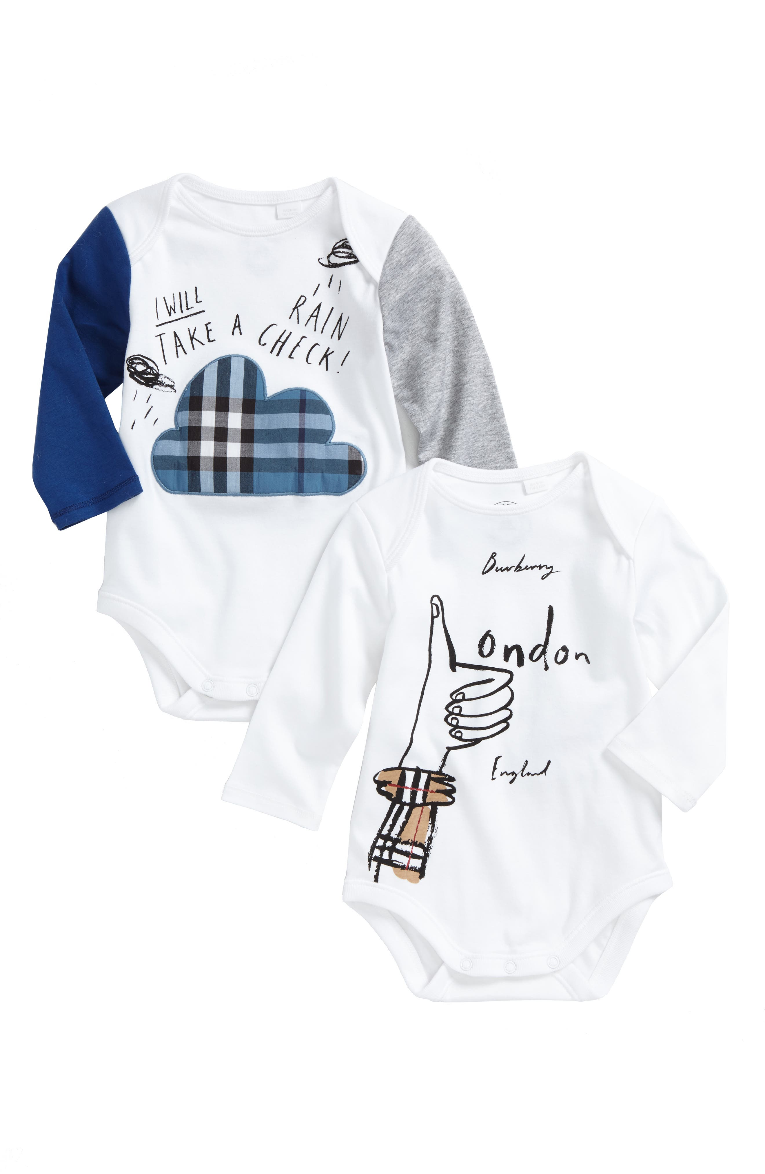 Main Image - Burberry 2-Pack Bodysuits (Baby Boys)