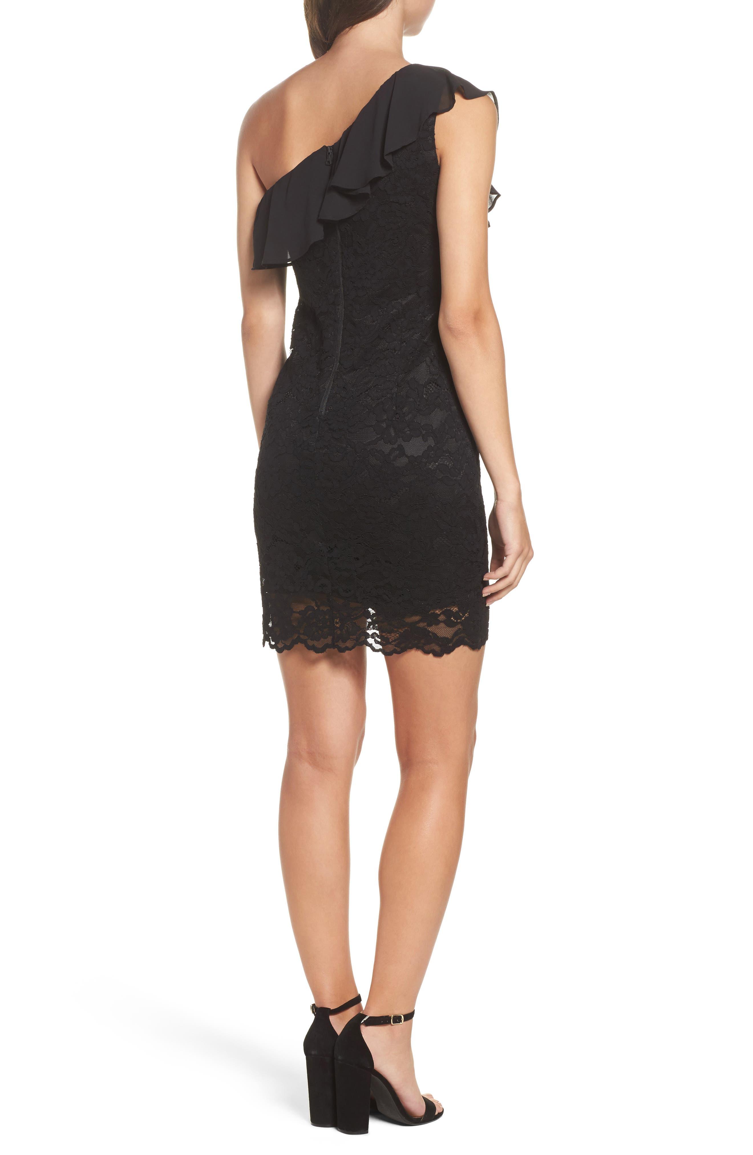Fiorella One-Shoulder Lace Body-Con Dress,                             Alternate thumbnail 2, color,                             Black