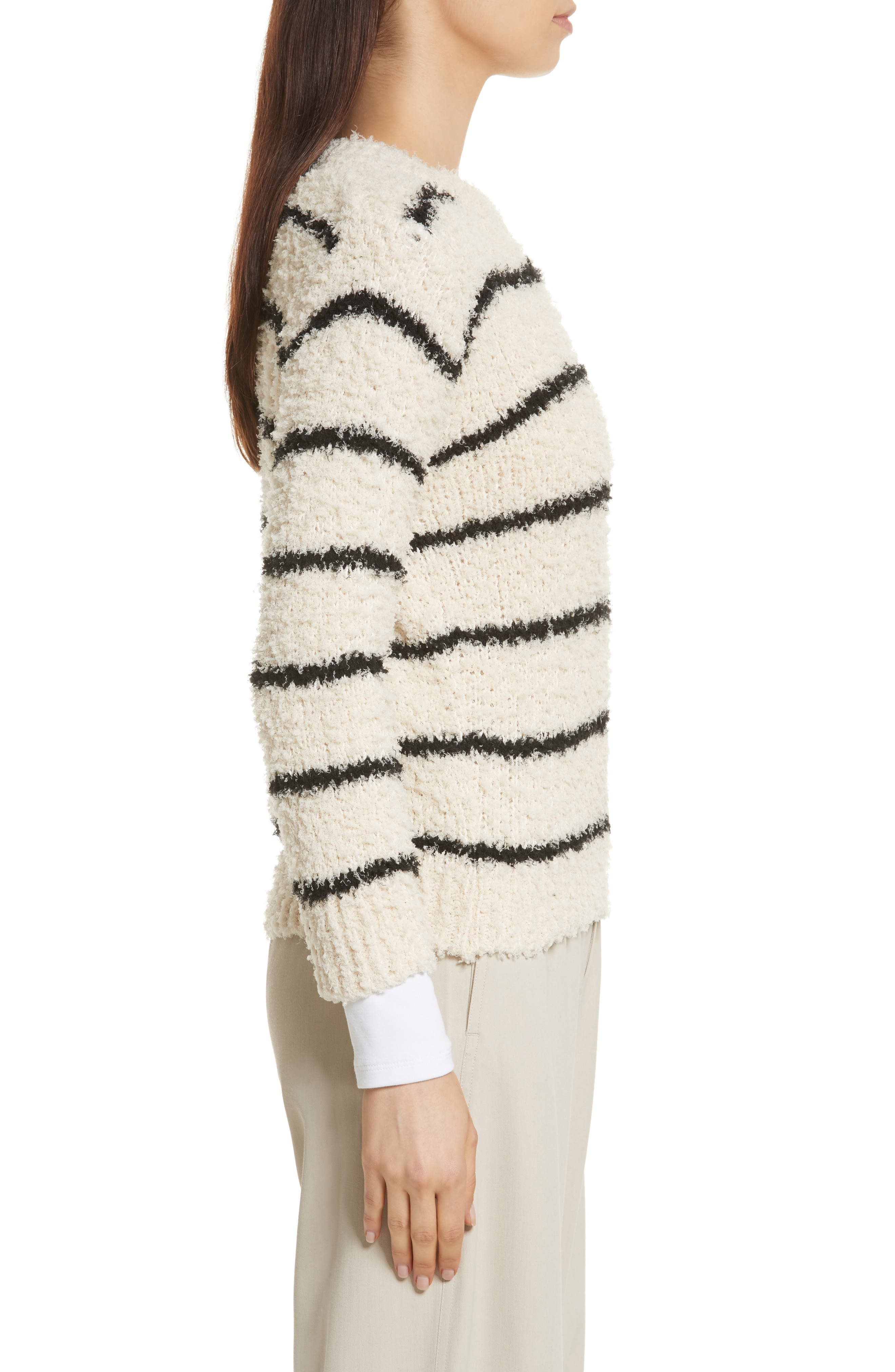 Fuzzy Stripe Sweater,                             Alternate thumbnail 3, color,                             Cream/ Black
