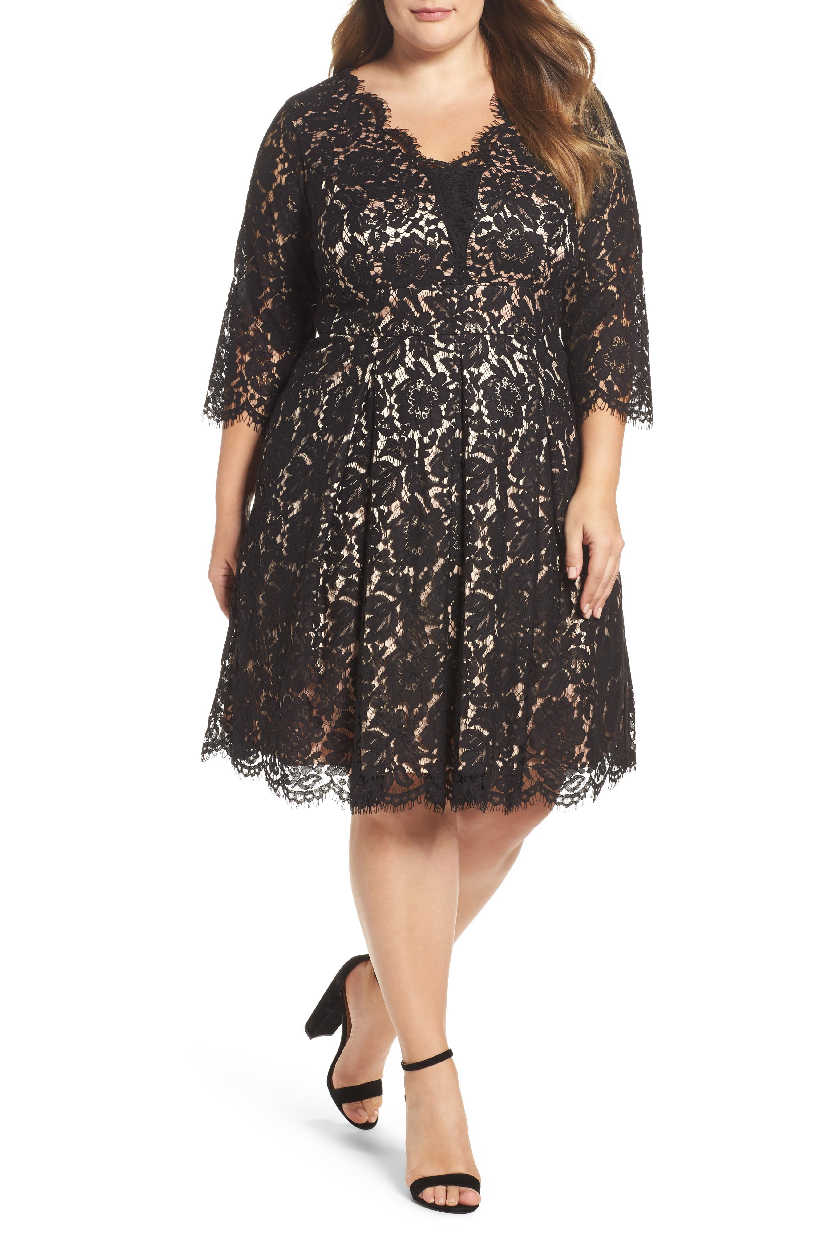 Alternate Image 1 Selected - Eliza J Lace Fit & Flare Dress (Plus Size)