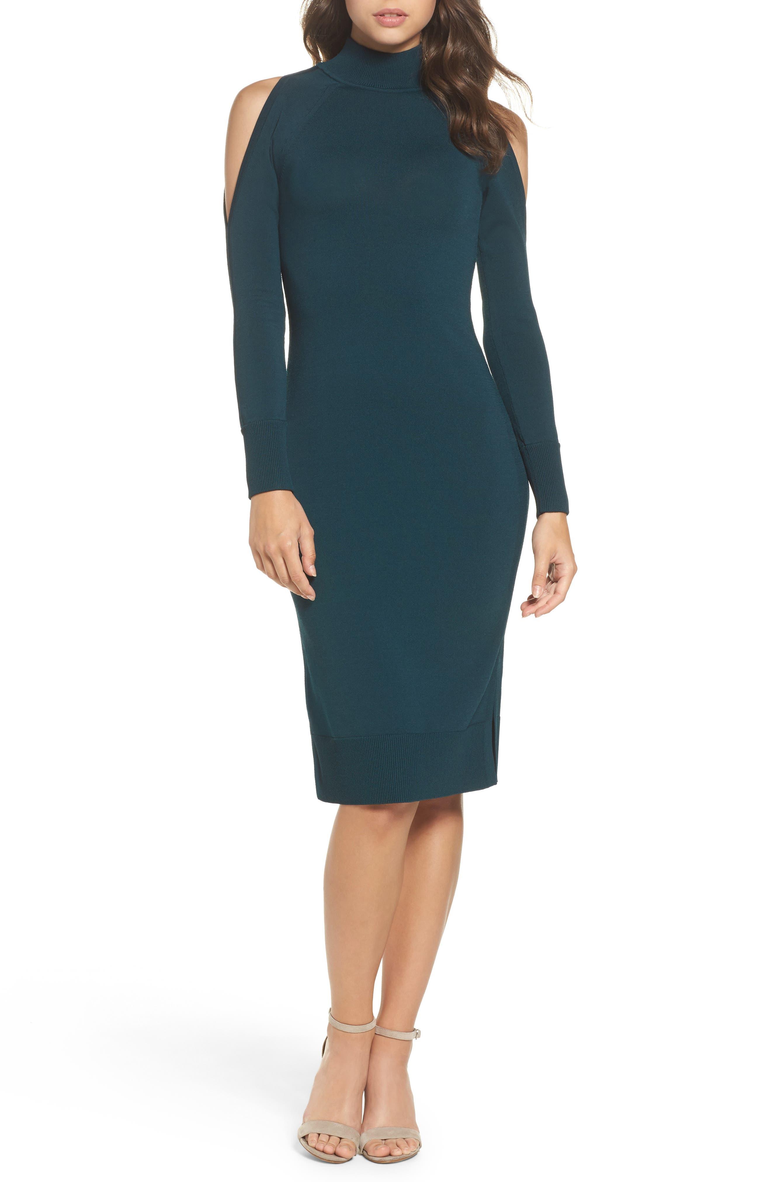 Cold Shoulder Turtleneck Dress,                         Main,                         color, Green